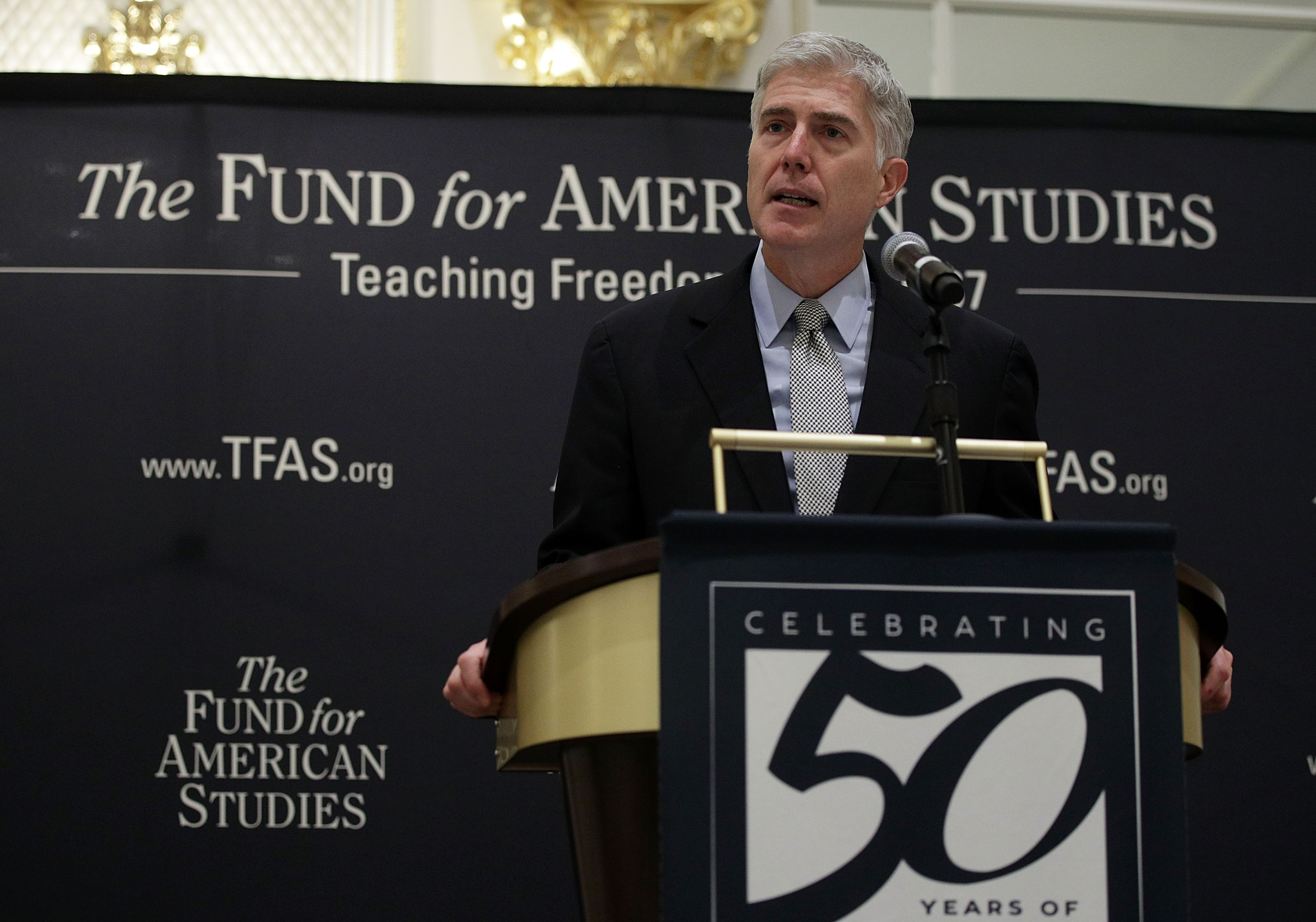 Justice Neil Gorsuch speaks at an event hosted by The Fund for American Studies on September 28, 2017. (Alex Wong/Getty Images)