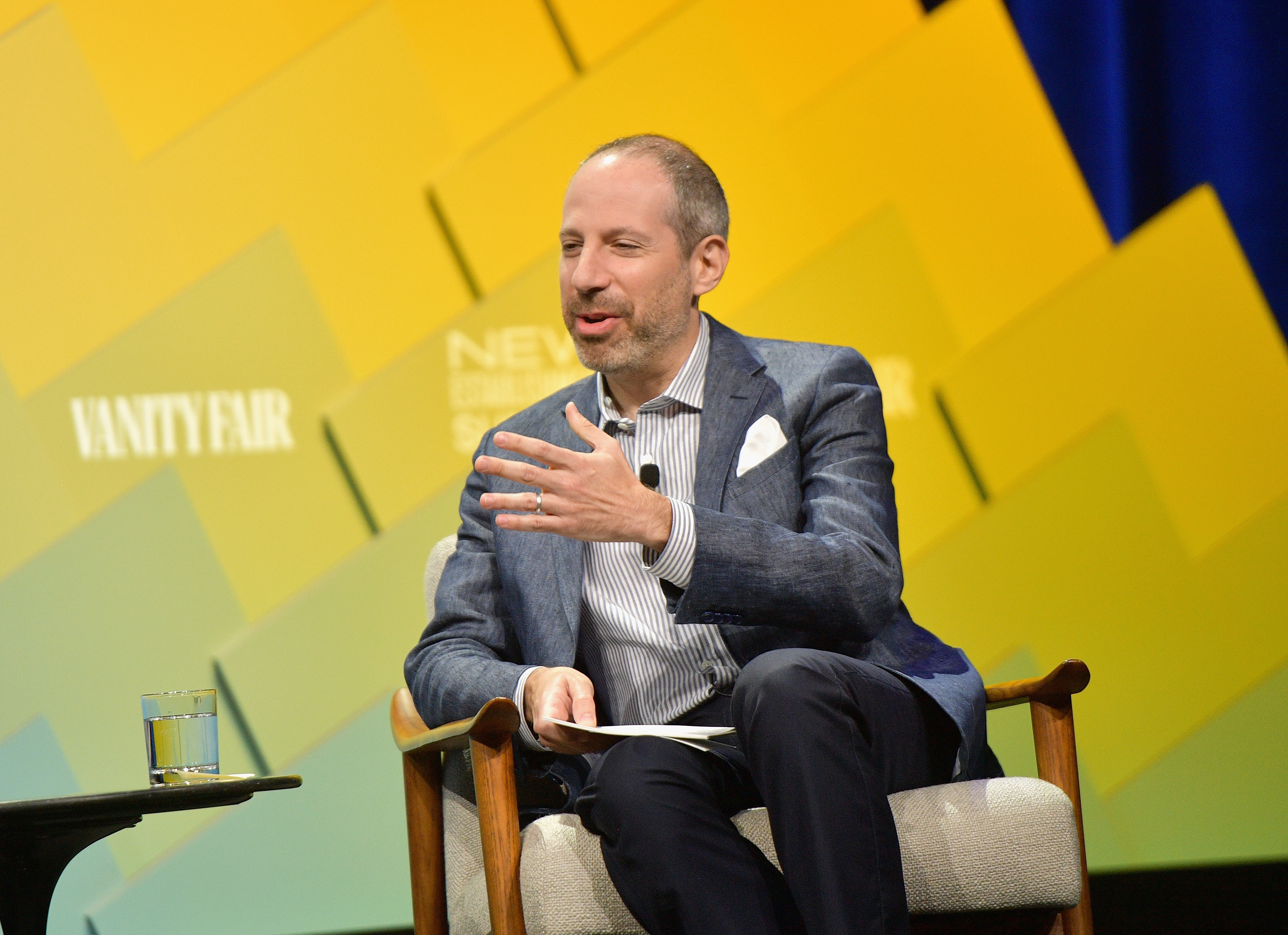 President of NBC News and screenwriter of Oscar-nominated film Jackie, Noah Oppenheim speaks onstage at Day 2 of the Vanity Fair New Establishment Summit 2018 at The Wallis Annenberg Center for the Performing Arts on October 10, 2018 in Beverly Hills, California. (Photo by Matt Winkelmeyer/Getty Images)