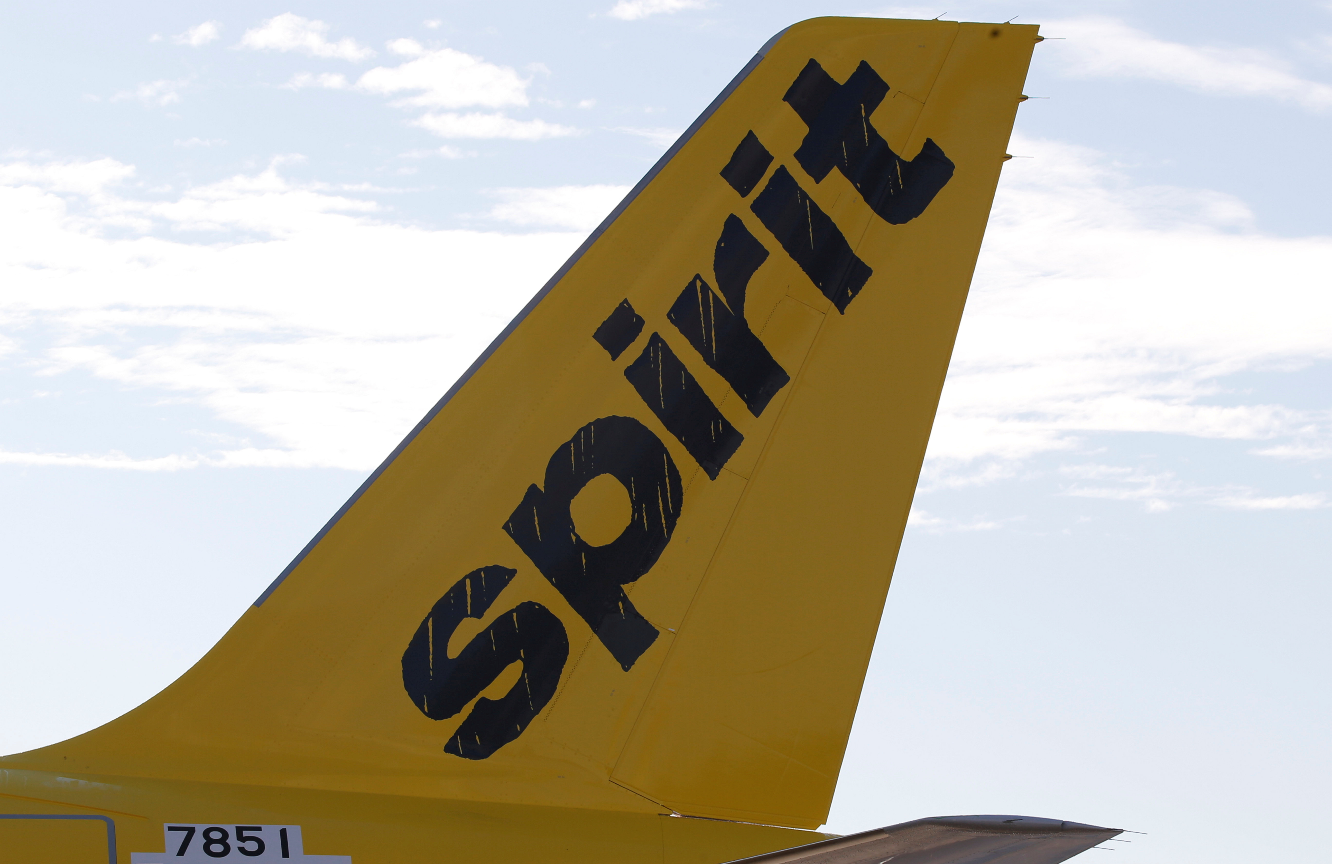 A logo of low cost carrier Spirit Airlines is pictured on an Airbus plane in Colomiers near Toulouse, France, November 6, 2018. (REUTERS/Regis Duvignau)