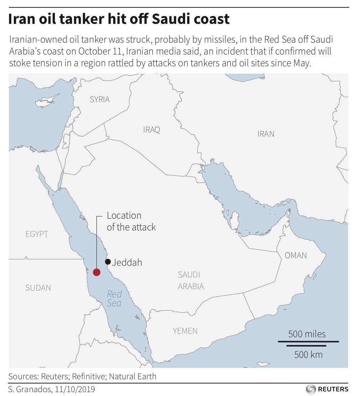 Iran oil tanker hit by missiles off Saudi coast EPS C/ Reuters