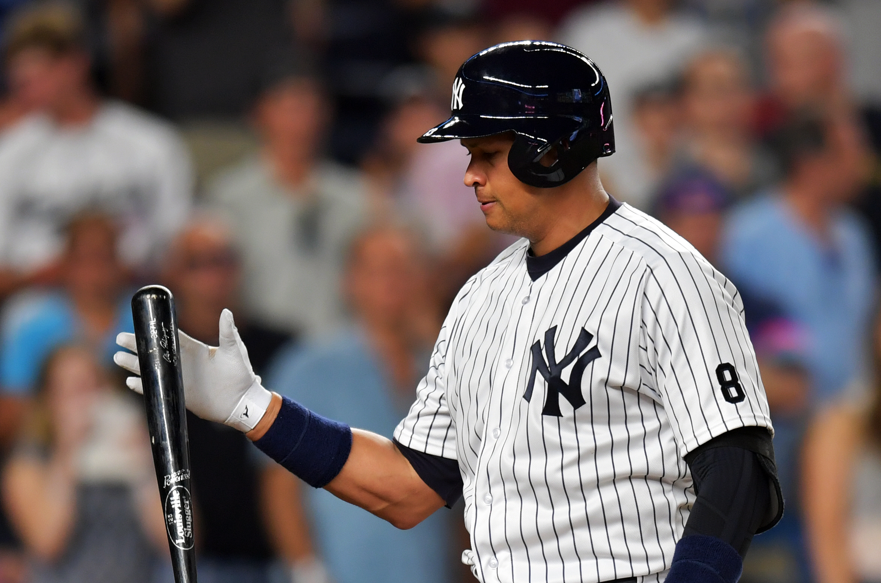 Alex Rodriguez #13 of the New York Yankees reacts after striking out in the fifth inning against the Tampa Bay Rays at Yankee Stadium on August 12, 2016 in New York City. (Photo by Drew Hallowell/Getty Images)
