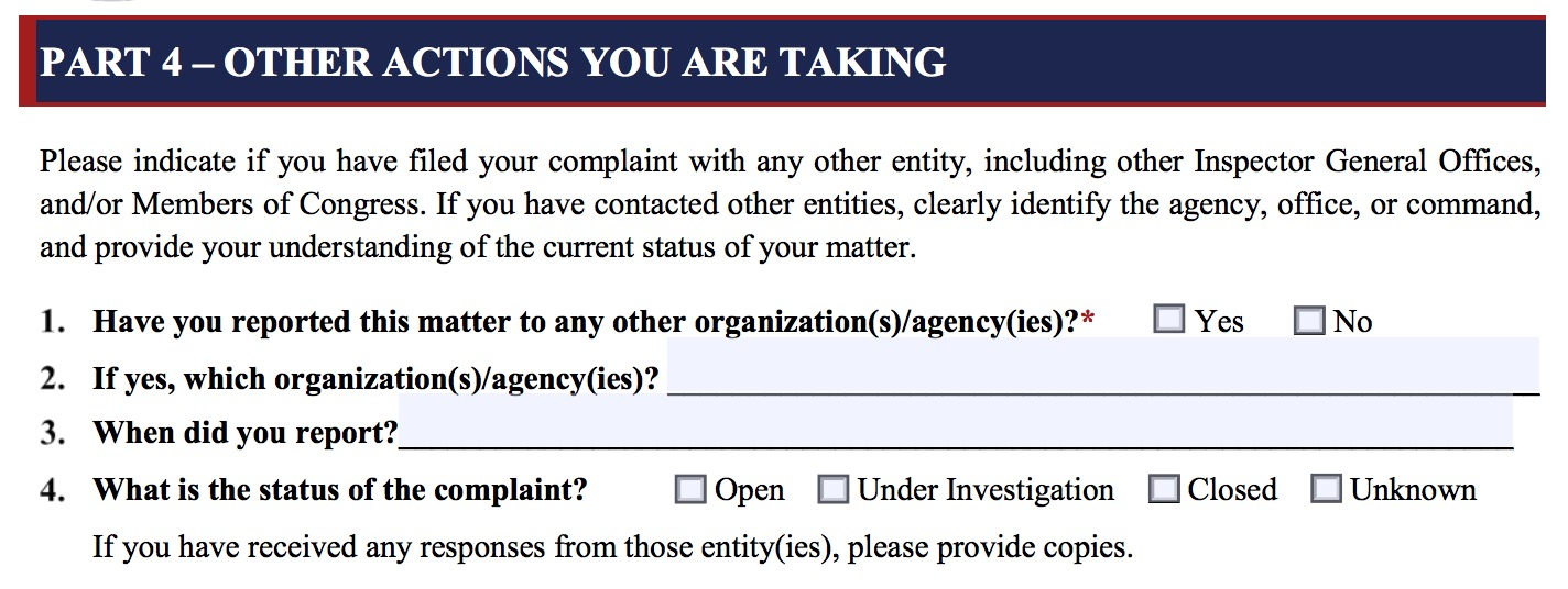 IC IG whistleblower complaint form (Screenshot/DNI.gov)