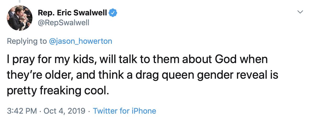 Screenshot of Eric Swalwell tweet.