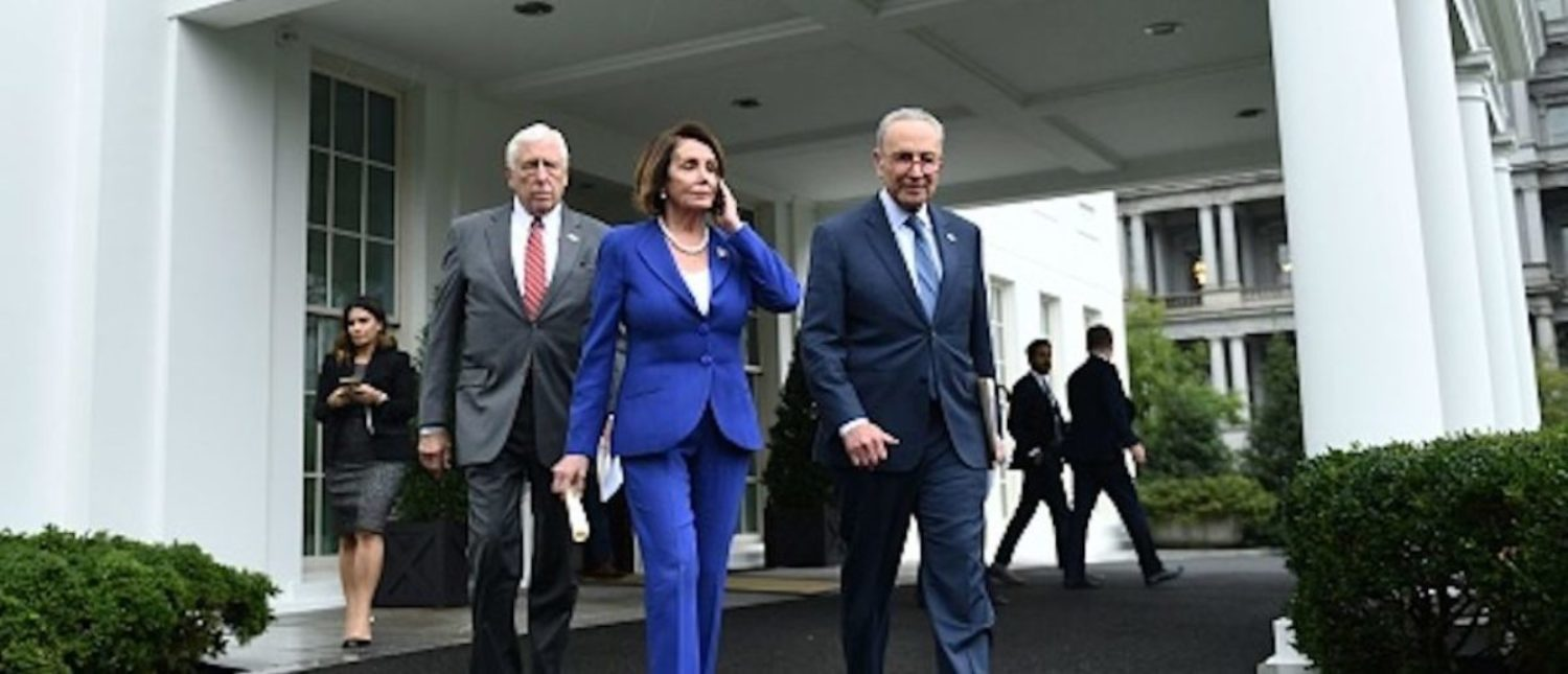 Speaker of the House Nancy Pelosi (C), Senate Minority Leader Chuck Schumer (D-NY) (R) and Representative Steny Hoyer, walk out of the White House after meeting with US President Donald Trump in Washington, DC on October 16, 2019. (Photo by Brendan Smialowski / AFP) (Photo by BRENDAN SMIALOWSKI/AFP via Getty Images)