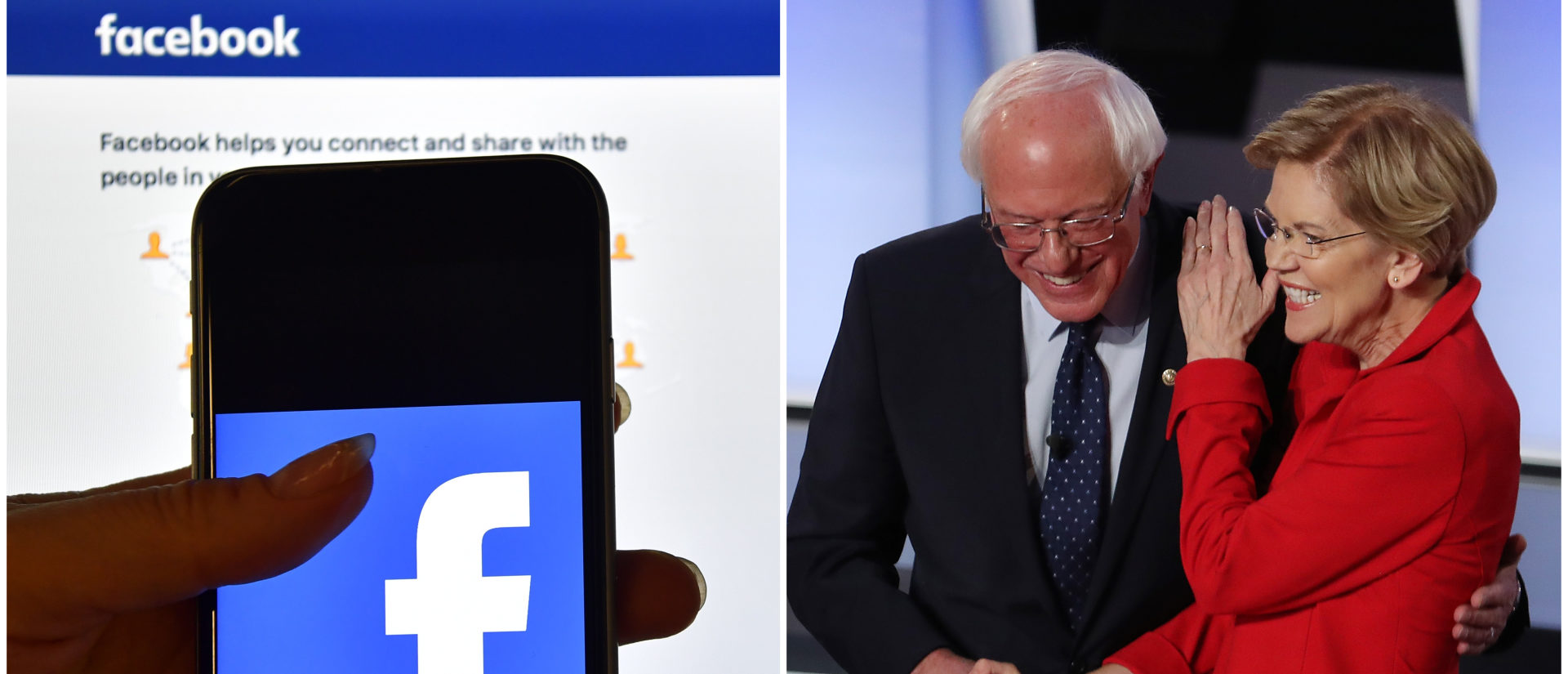Facebook, Warren and Sanders side-by-side/ Getty Images collage