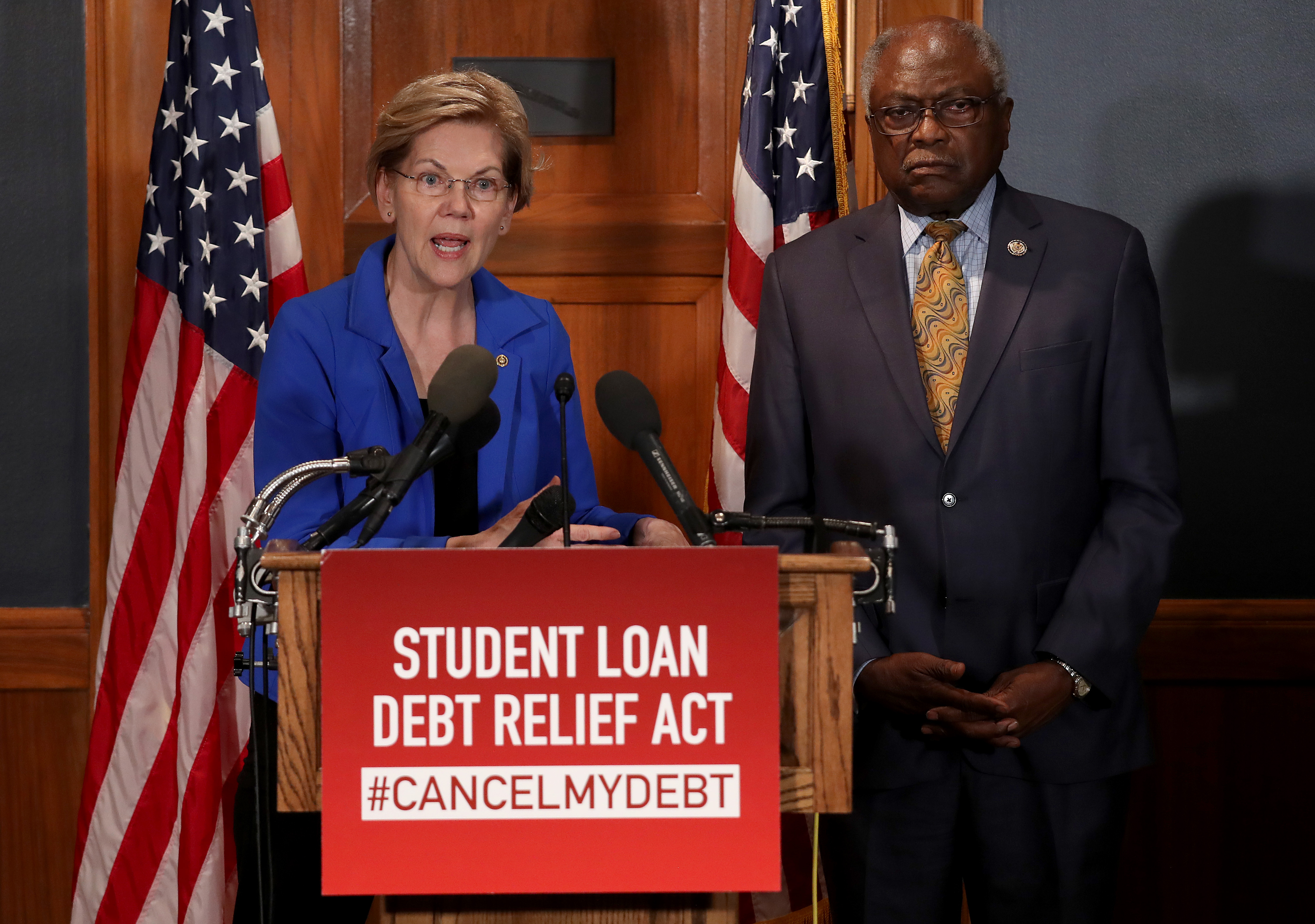 WASHINGTON, DC - JULY 23: Sen. Elizabeth Warren (D-MA) speaks during a press conference on Capitol Hill July 23, 2019 in Washington, DC. Warren spoke with Rep. Jim Clyburn (R) (D-SC) on legislation to cancel student loan debt for millions of Americans. (Win McNamee/Getty Images)