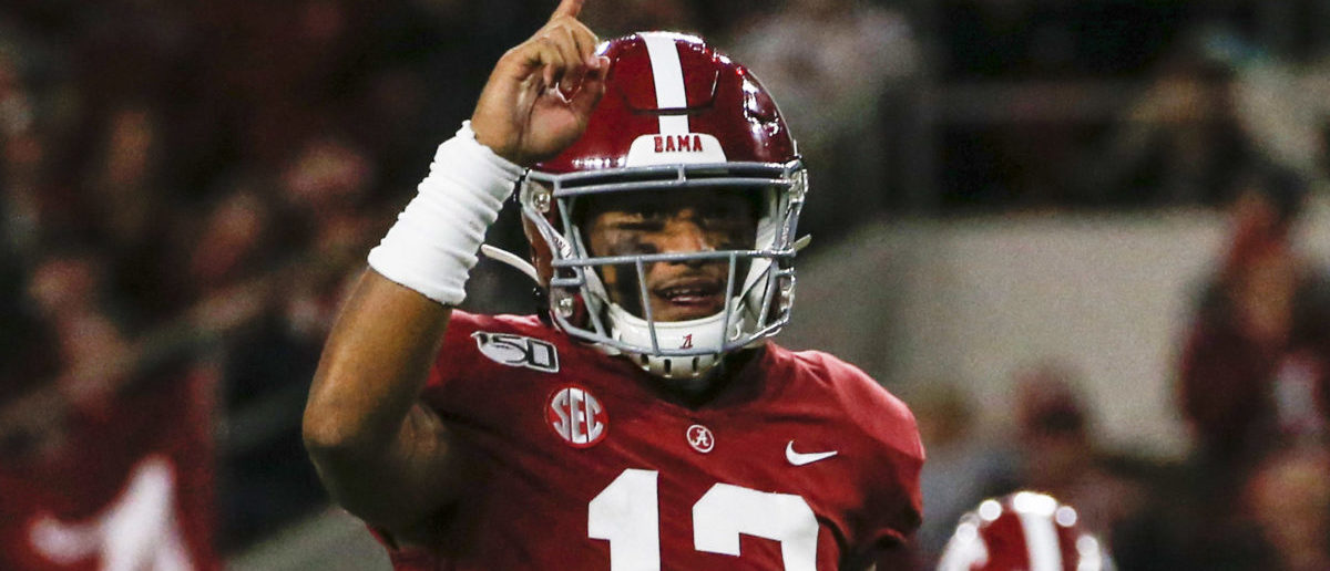 Oct 19, 2019; Tuscaloosa, AL, USA; Alabama Crimson Tide quarterback Tua Tagovailoa (13) celebrates after a touchdown during the first half of an NCAA football game against the Tennessee Volunteers at Bryant-Denny Stadium. (Credit: Butch Dill-USA TODAY Sports - via Reuters)