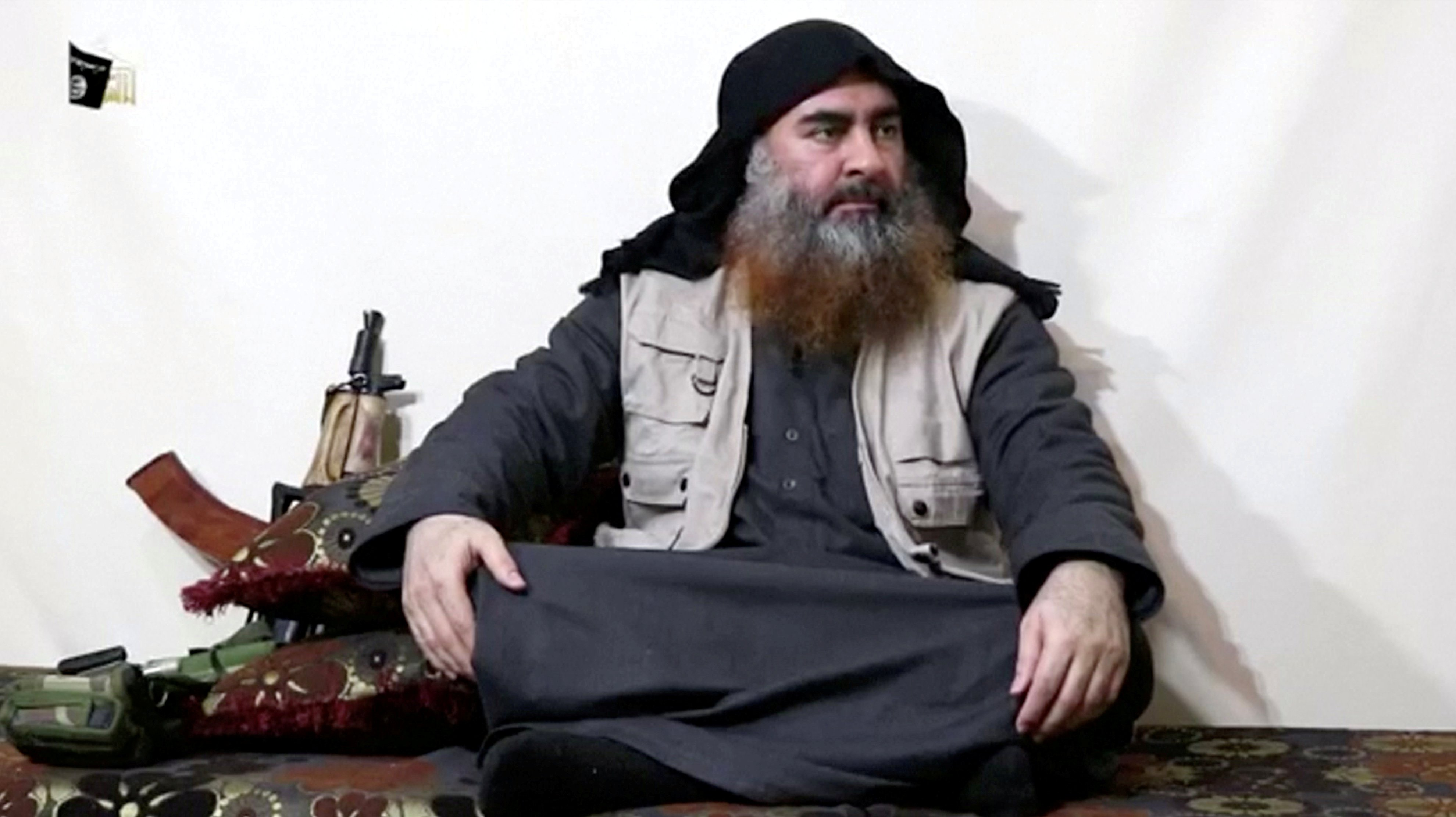 A bearded man with Islamic State leader Abu Bakr al-Baghdadi's appearance speaks in this screen grab taken from video released on April 29, 2019. (Islamic State Group/Al Furqan Media Network/Reuters TV via REUTERS)