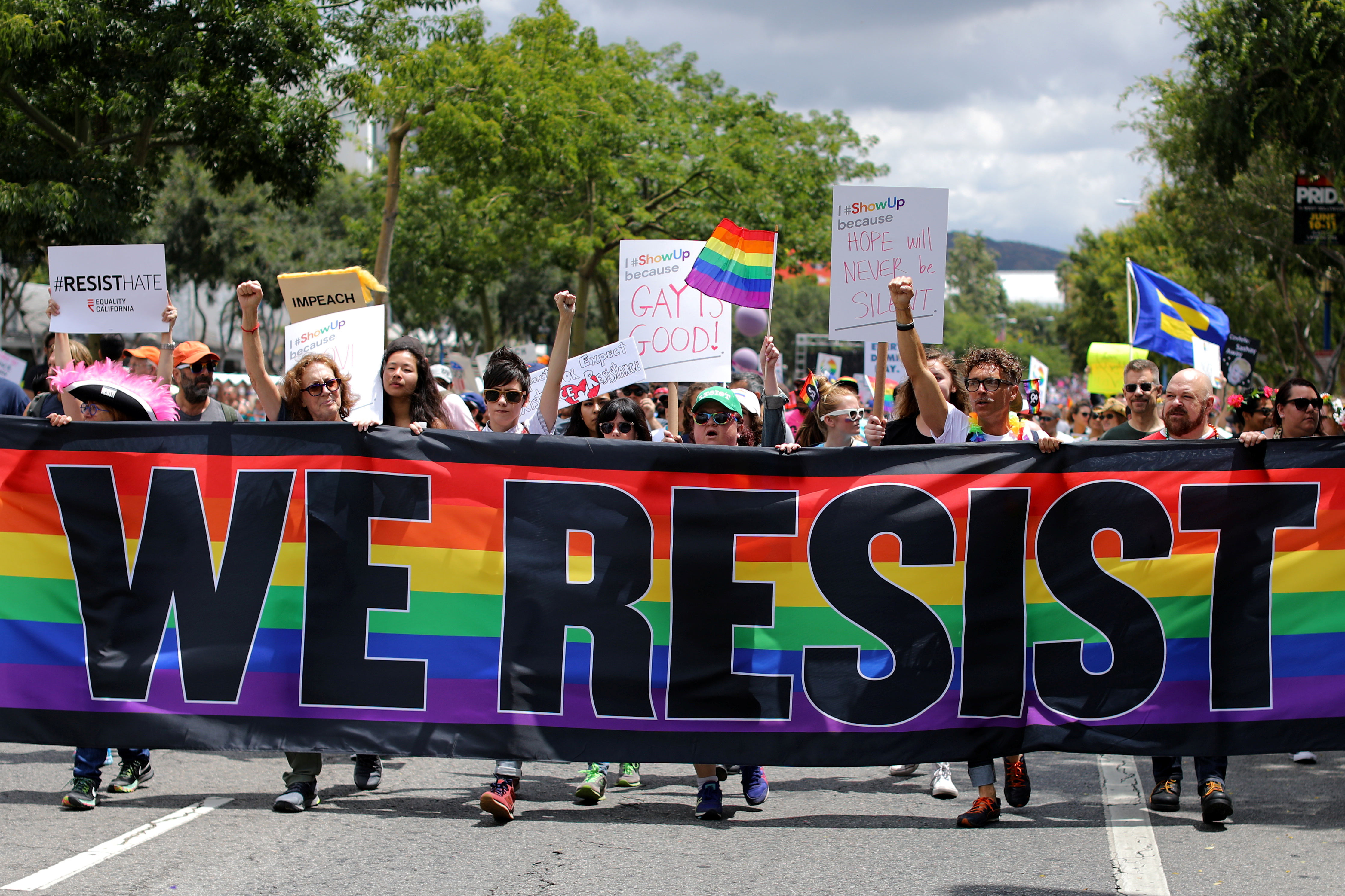 The annual Pride Parade is replaced with a Resist March as members of the LGBT community protest President Donald Trump in West Hollywood, California, U.S. June 11, 2017. REUTERS/Mike Blake