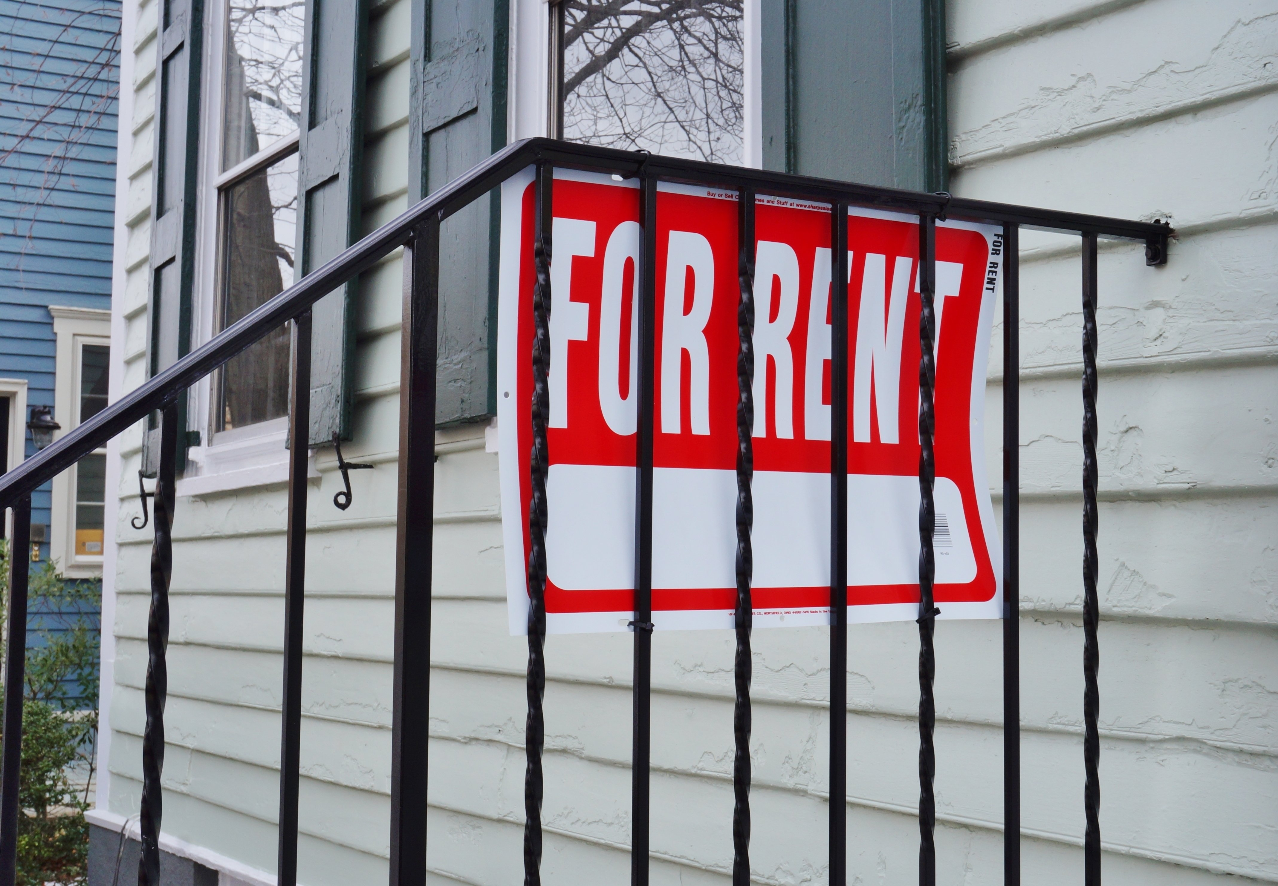 PRINCETON, NJ -8 FEB 2016- For Rent sign in the street. The property market in the United States has recovered from the 2008 housing crash, but there are vast regional differences in real estate. (Via Shutterstock)
