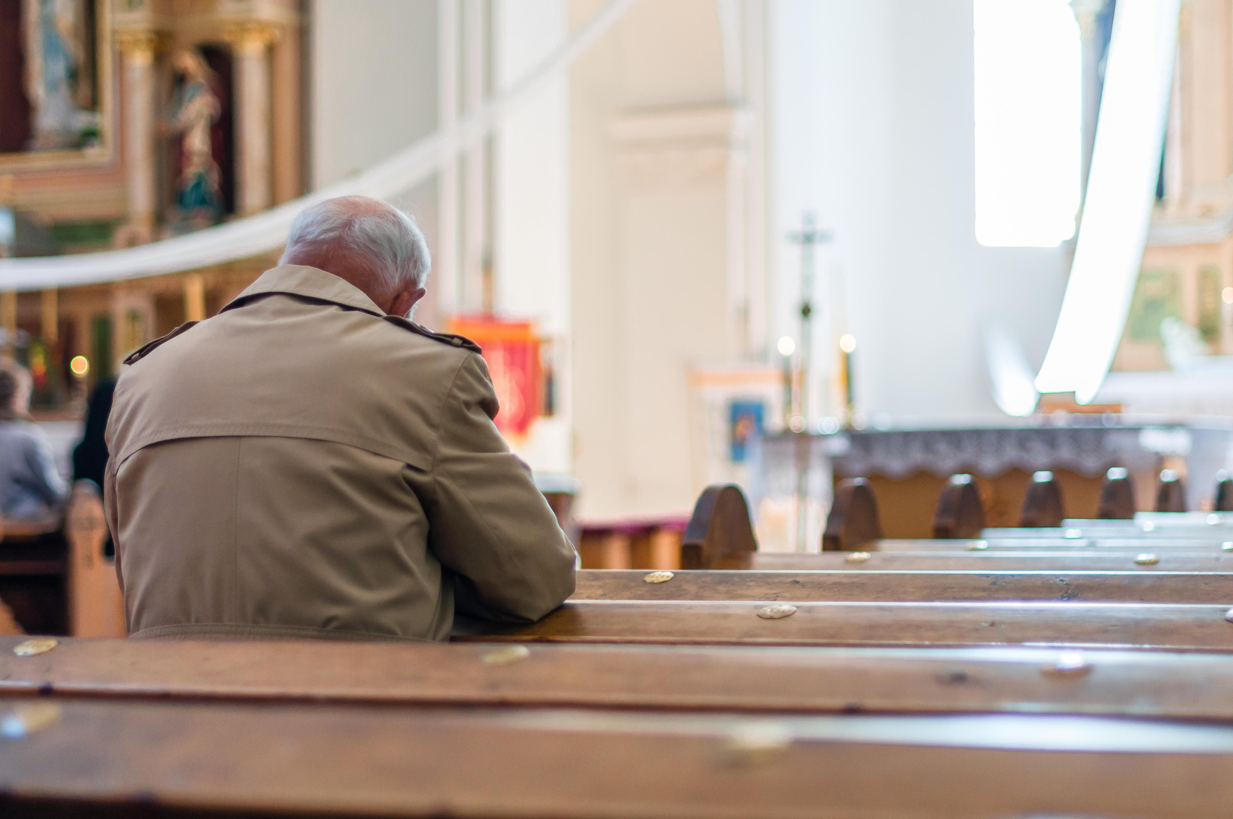man in empty church