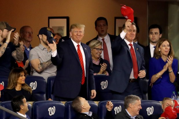WASHINGTON, DC – OCTOBER 27: President Donald Trump attends Game Five of the 2019 World Series between the Houston Astros and the Washington Nationals at Nationals Park on October 27, 2019 in Washington, DC. (Photo by Will Newton/Getty Images)
