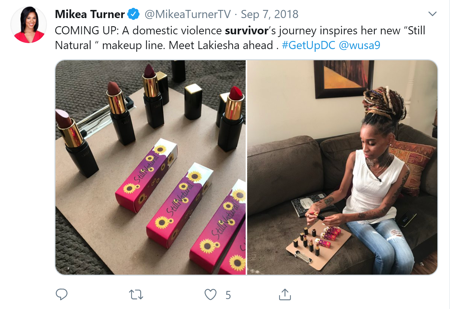 Mikea Turner promoting the Allen family's beauty company in 2018 (Screenshot)