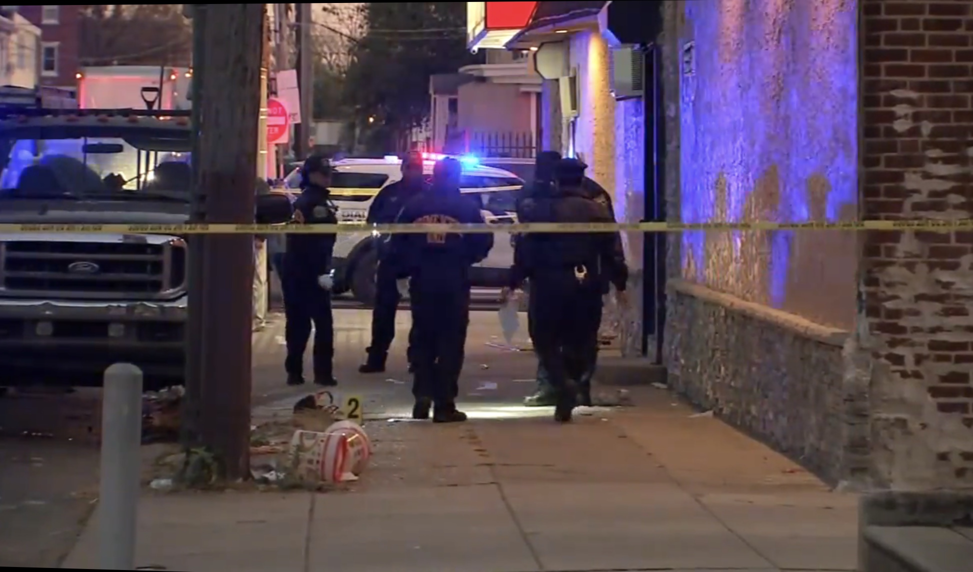 Philadelphia police investigate a crime scene after a 10-year-old boy was hit in a drive-by shooting on Nov. 6, 2019. ABC News screenshot.