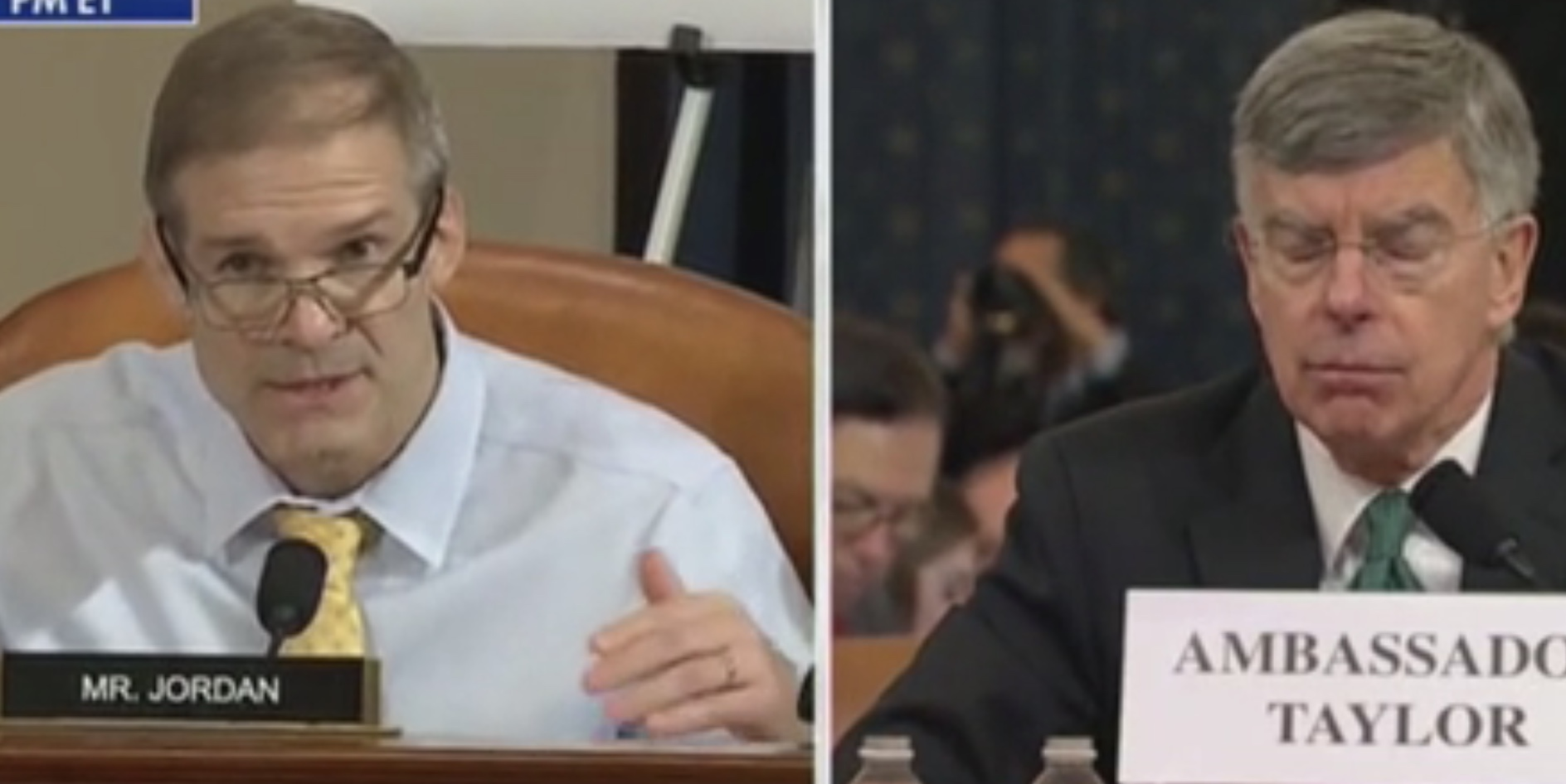 Republican Ohio Rep. Jim Jordan questions Acting Ambassador to Ukraine William Taylor during the first day of impeachment hearings, Nov. 13, 2109. Fox News screenshot.