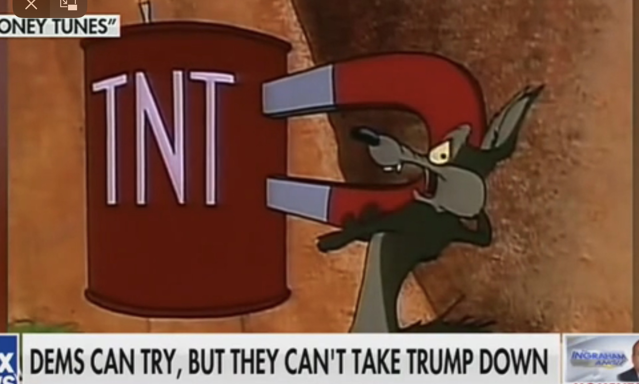 "A scene from a ""Looney Tunes"" segment depicting cartoon character Wile E. Coyote used on ""The Ingraham Angle,"" Nov. 26, 2019. Fox News screenshot."