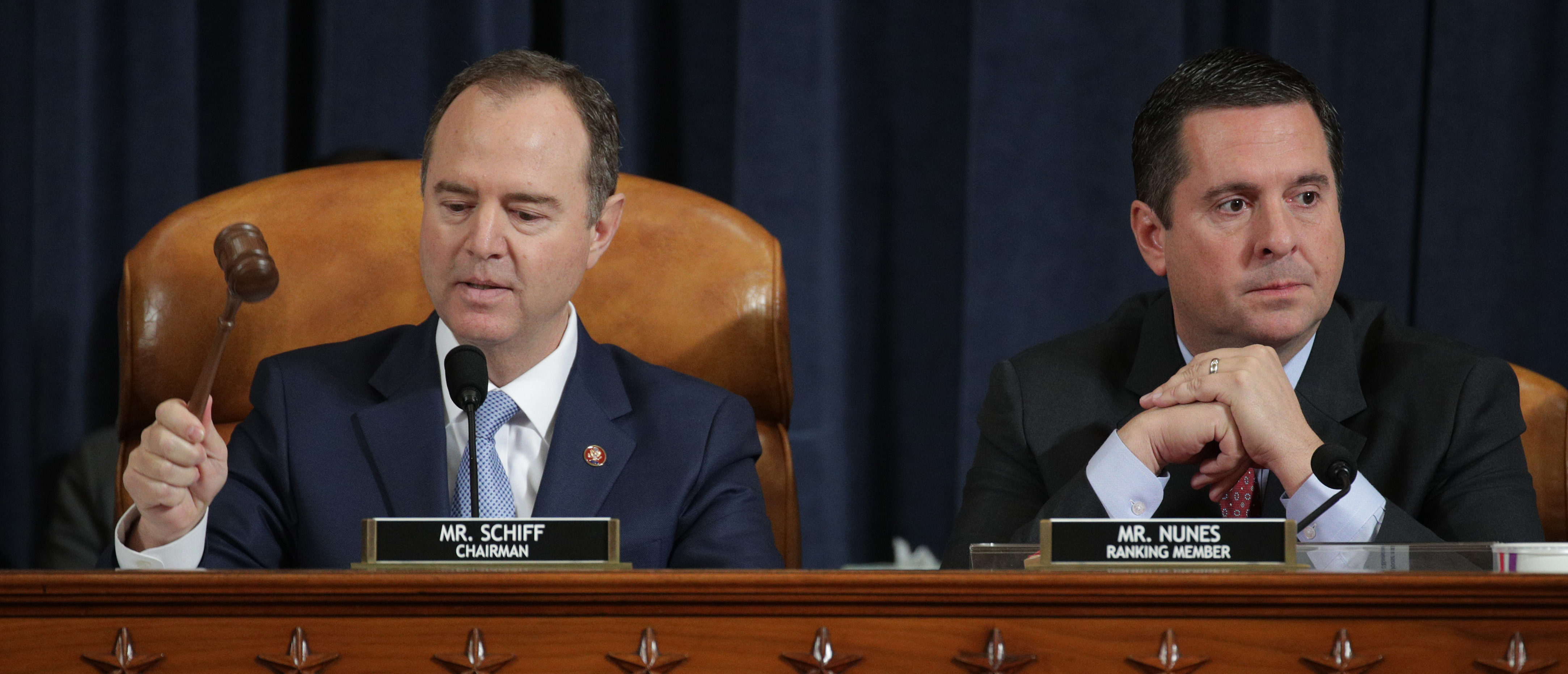WASHINGTON, DC - NOVEMBER 15: Committee Chairman Rep. Adam Schiff (D-CA) (L) speaks while ranking member Devin Nunes looks on during the testimony of former U.S. Ambassador to Ukraine Marie Yovanovitch's before the House Intelligence Committee in the Longworth House Office Building on Capitol Hill November 15, 2019 in Washington, DC. In the second impeachment hearing held by the committee, House Democrats continue to build a case against U.S. President Donald Trump's efforts to link U.S. military aid for Ukraine to the nation's investigation of his political rivals. (Photo by Alex Wong/Getty Images)
