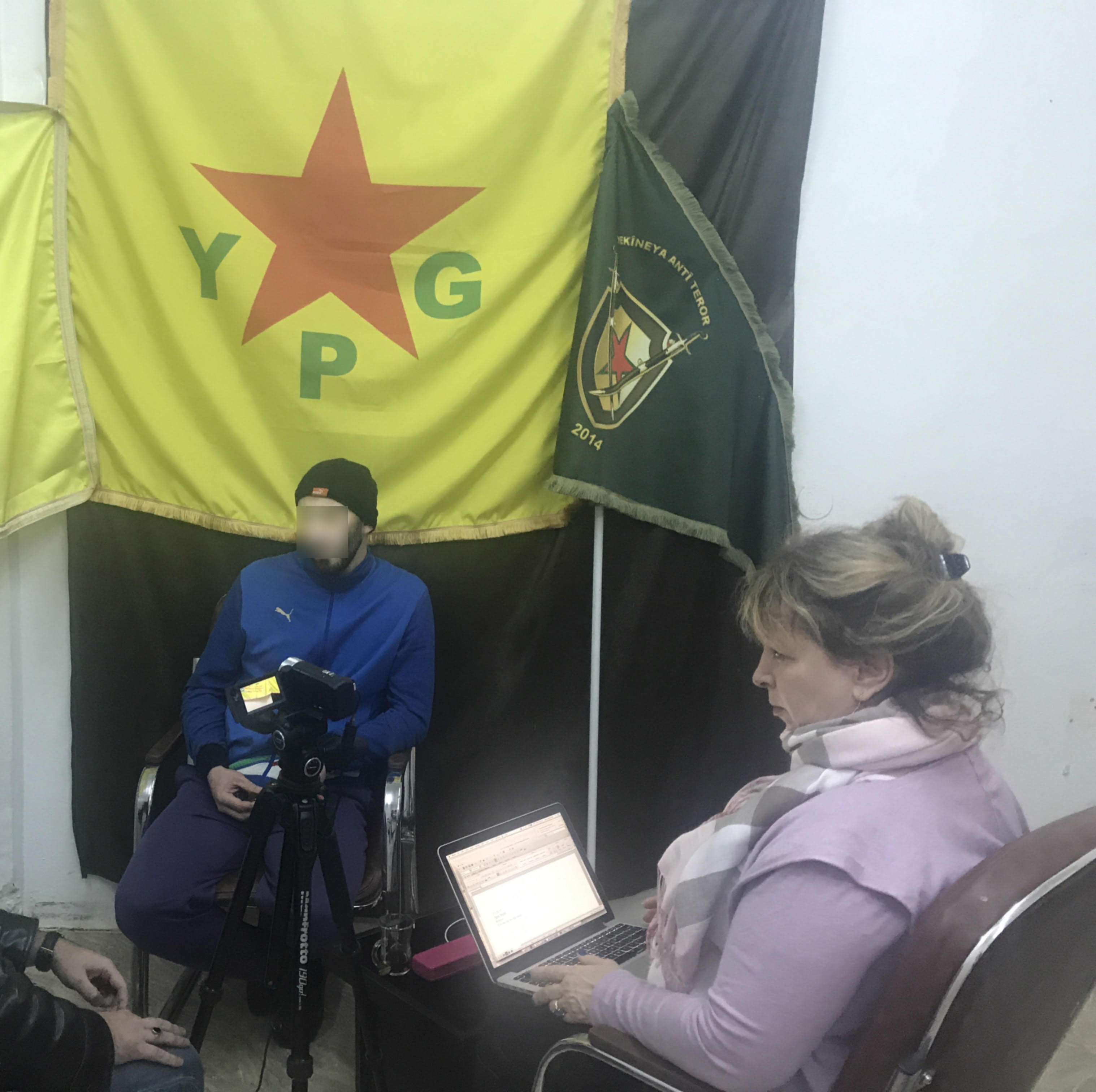 Anne Speckhard interviewing an Islamic State member held by the SDF in Rojava, Syria