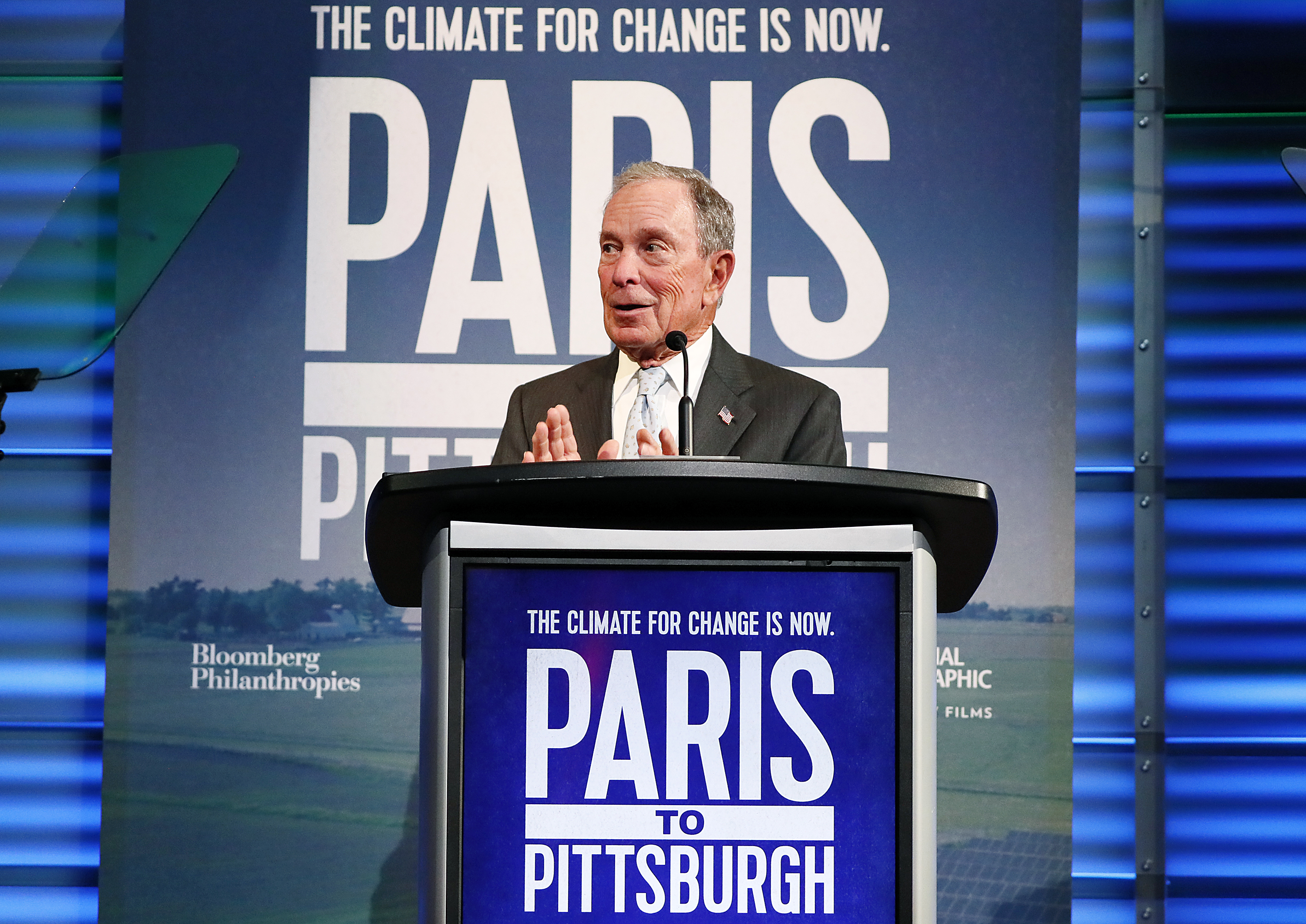 "WASHINGTON, DC - FEBRUARY 13: Michael Bloomberg speaks at the ""Paris to Pittsburgh"" film screening hosted by Bloomberg Philanthropies and National Geographic at National Geographic Headquarters on February 13, 2019 in Washington, DC. (Photo by Paul Morigi/Getty Images for Bloomberg Philanthropies)"