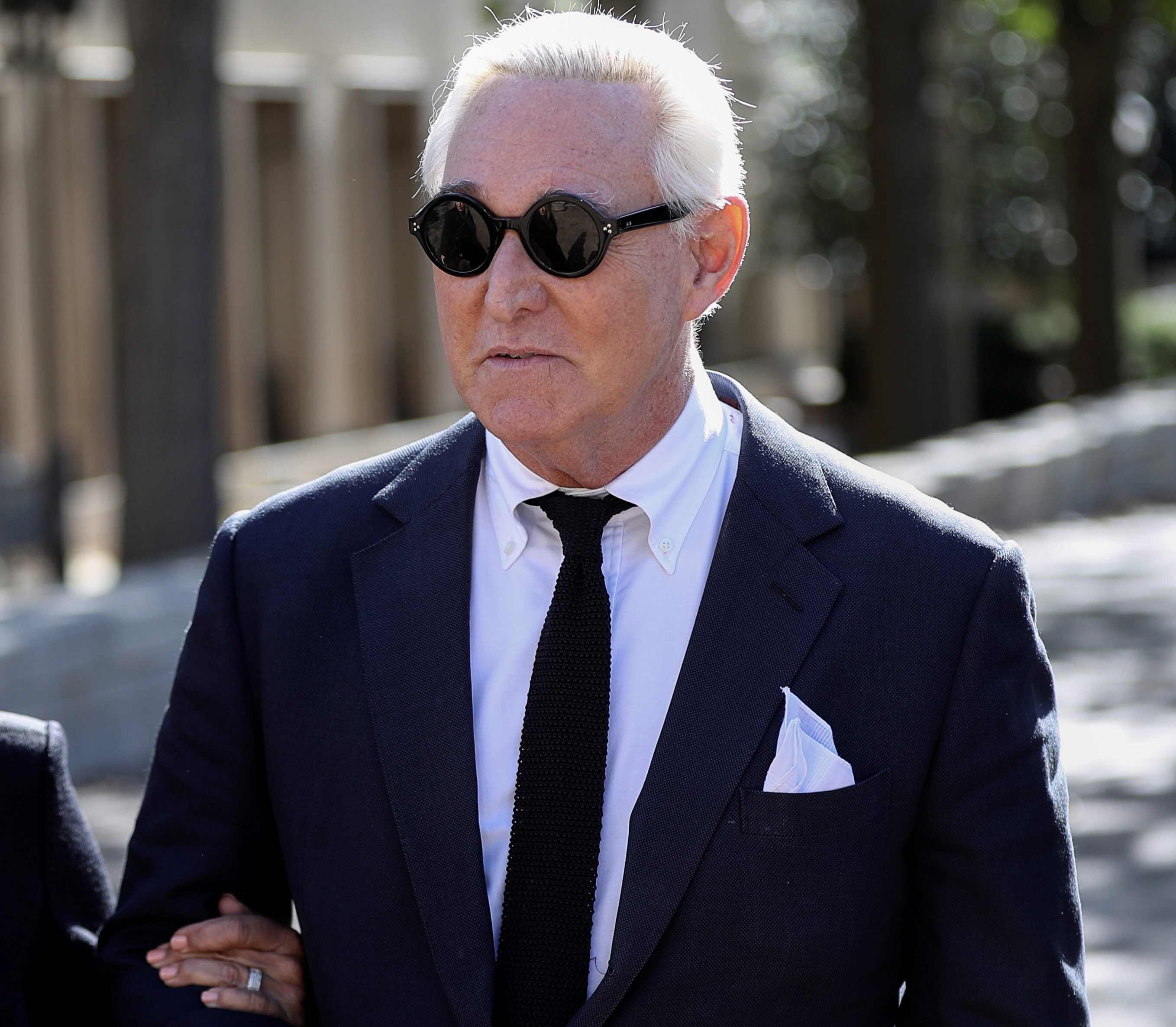 Roger Stone, former campaign adviser to U.S. President Donald Trump, is accompanied by his wife Nydia, as he departs following a pre-trial hearing at U.S. District Court in Washington, U.S., Nov. 4, 2019. REUTERS/Siphiwe Sibeko