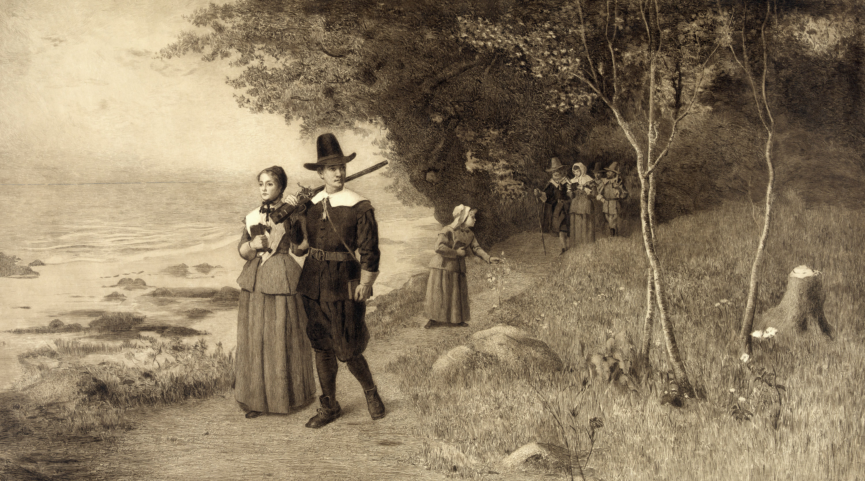 Pilgrims with bibles. Everett Historical, Shutterstock(1)