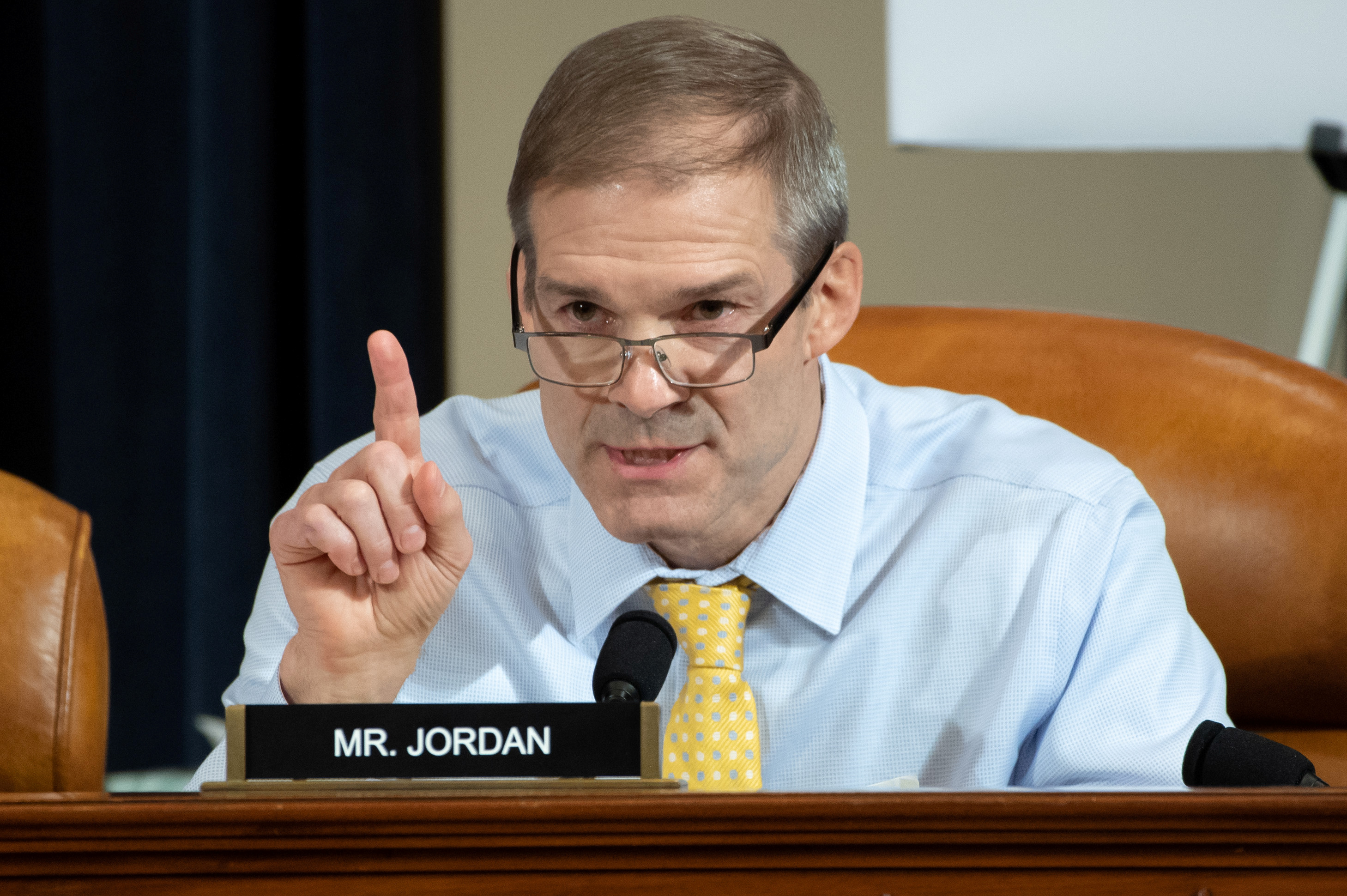 Representative Jim Jordan, Republican of Ohio, asks questions of witnesses U.S. Ambassador to Ukraine William Taylor and Deputy Assistant Secretary George Kent during the first public hearings held by the House Permanent Select Committee on Intelligence as part of the impeachment inquiry into U.S. President Donald Trump, on Capitol Hill in Washington, DC, U.S., November 13, 2019. Saul Loeb/Pool via REUTERS