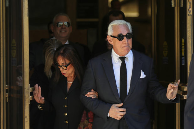 Roger Stone, former campaign adviser to U.S. President Donald Trump, is accompanied by his wife Nydia as he departs following a pre-trial hearing at U.S. District Court in Washington, U.S., November 4, 2019. REUTERS/Siphiwe Sibeko