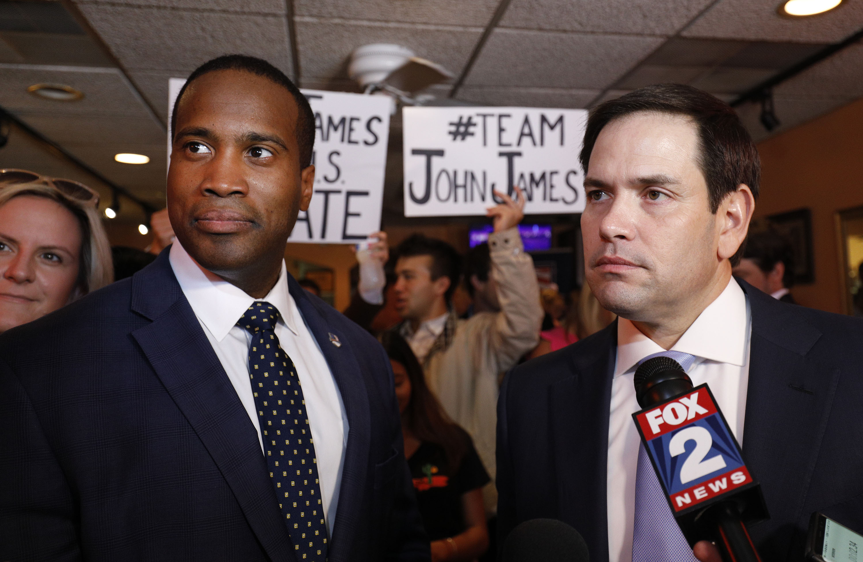 DETROIT, MI - AUGUST 13: Michigan GOP U.S. Senate candidate John James (left) campaigns with the help of Sen. Marco Rubio (R-FL)(right) at Senor Lopez Restaurant August 13th, 2018 in Detroit, Michigan. James, an Iraq war veteran and businessman who has President Donald Trump's endorsement, will be running against Democrat incumbent U.S. Sen. Debbie Stabenow (D-MI) this November. (Photo by Bill Pugliano/Getty Images)
