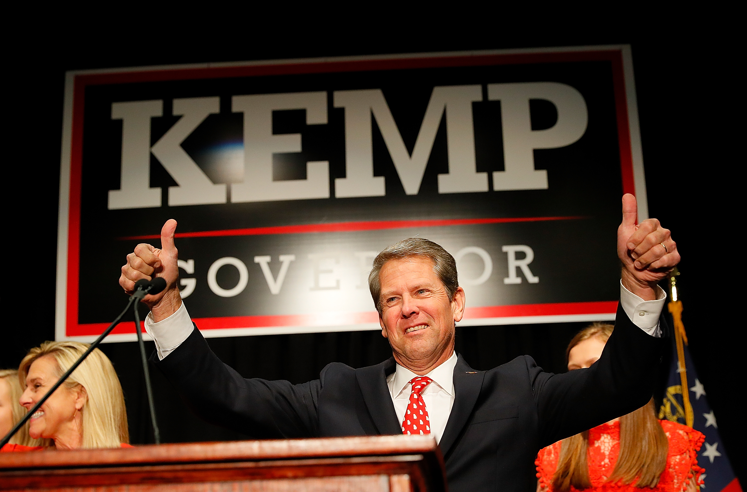 Republican gubernatorial candidate Brian Kemp attends the Election Night event at the Classic Center on November 6, 2018 in Athens, Georgia. Kemp is in a close race with Democrat Stacey Abrams. (Photo by Kevin C. Cox/Getty Images)