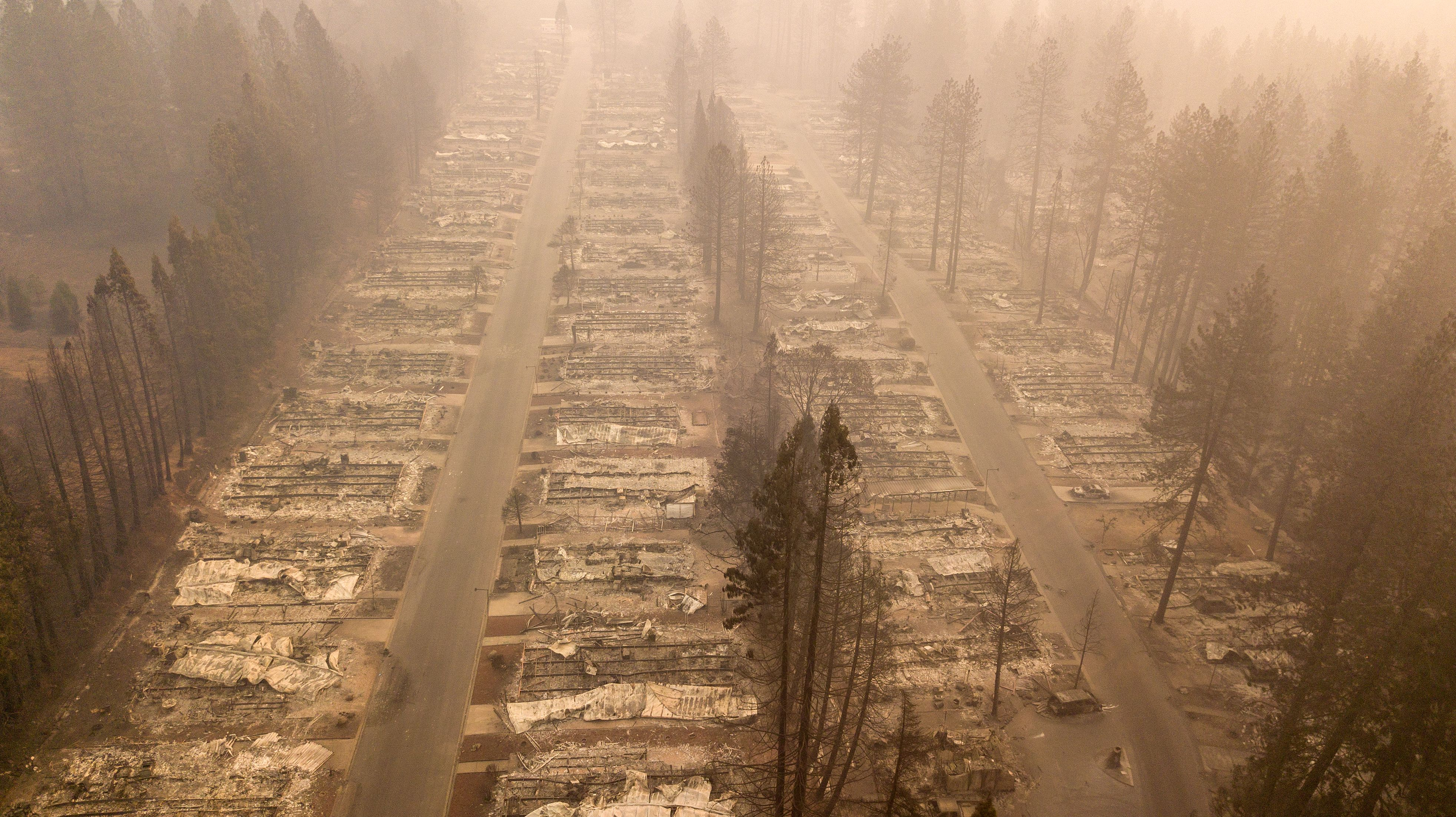 In this aerial photo, a burned neighborhood is seen in Paradise, California on November 15, 2018. (Photo by Josh Edelson / AFP via Getty Images)