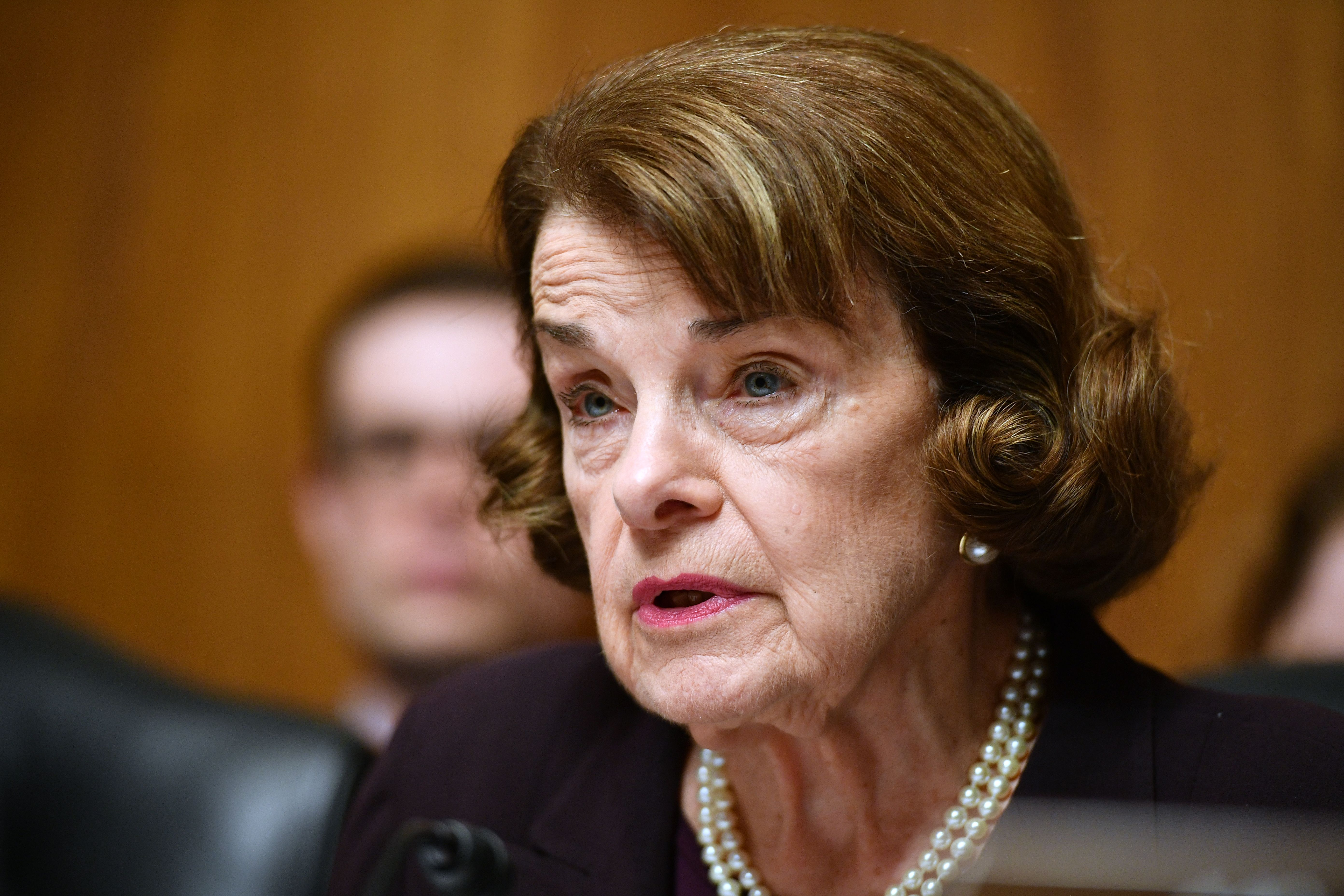US Senator Dianne Feinstein speaks as US Attorney General William Barr prepares to testify before the Senate Judiciary Committee on May 1,2019. (MANDEL NGAN/AFP via Getty Images)