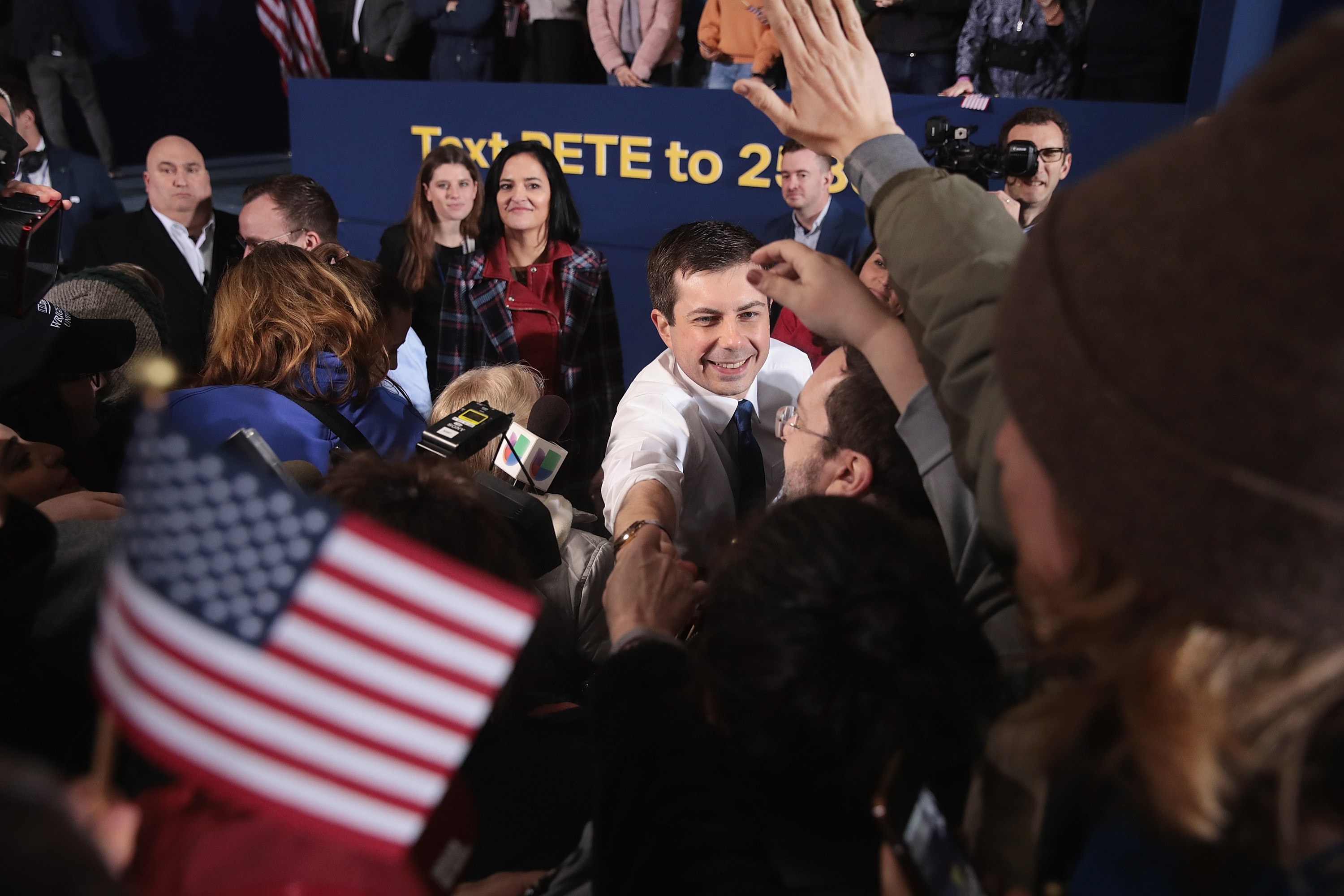 SOUTH BEND, INDIANA - APRIL 14: South Bend Mayor Pete Buttigieg greets guests after announcing that he will be seeking the Democratic nomination for president during a rally in the old Studebaker car factory on April 14, 2019 in South Bend, Indiana. Buttigieg has been drumming up support for his run during several recent campaign swings through Iowa, where he will be retuning to continue his campaign later this week. (Photo by Scott Olson/Getty Images)
