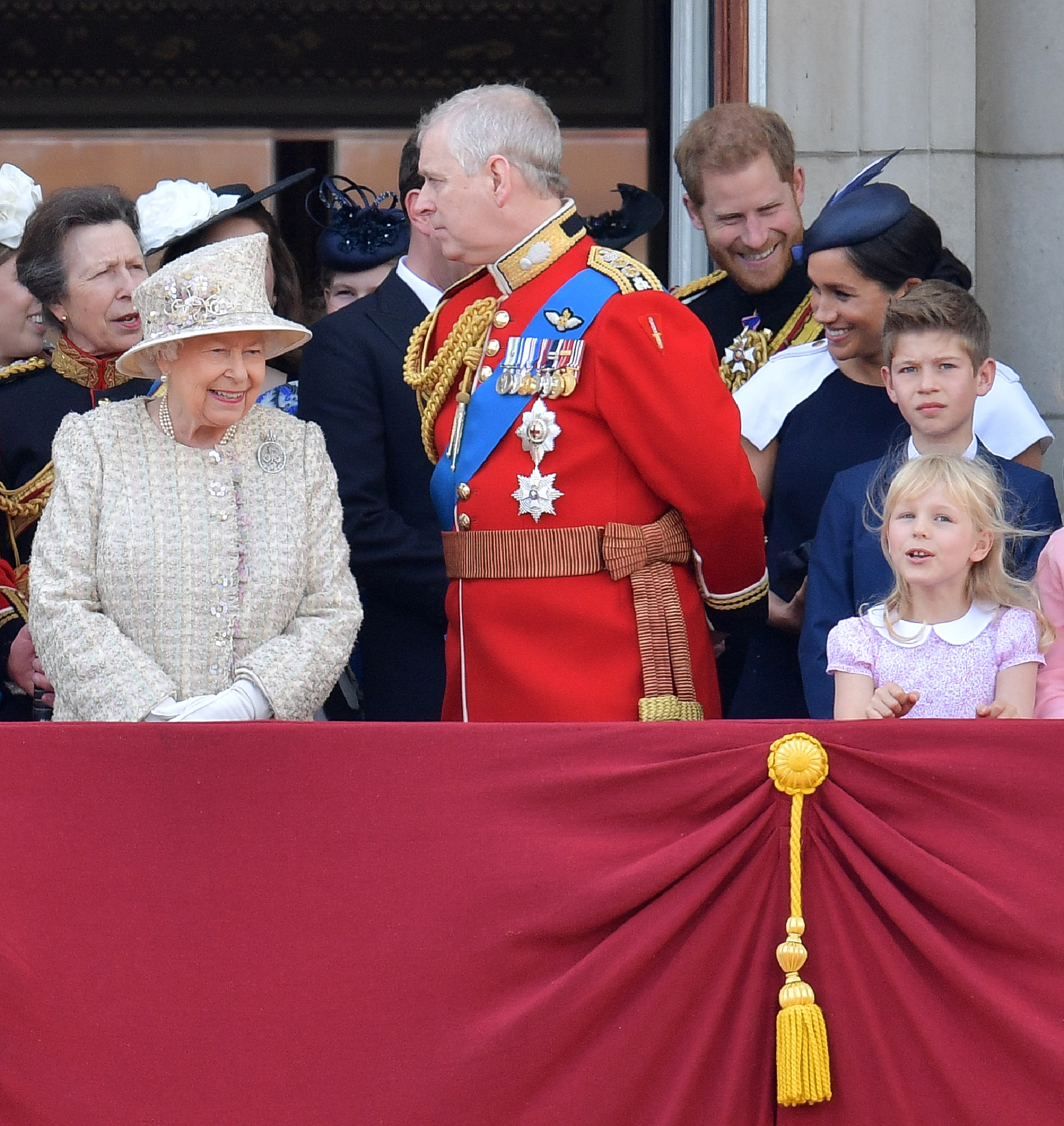 Britain's Queen Elizabeth II and Britain's Prince Andrew, Duke of York stand with other members of the Royal Family on the balcony of Buckingham Palace. (DANIEL LEAL-OLIVAS/AFP via Getty Images)