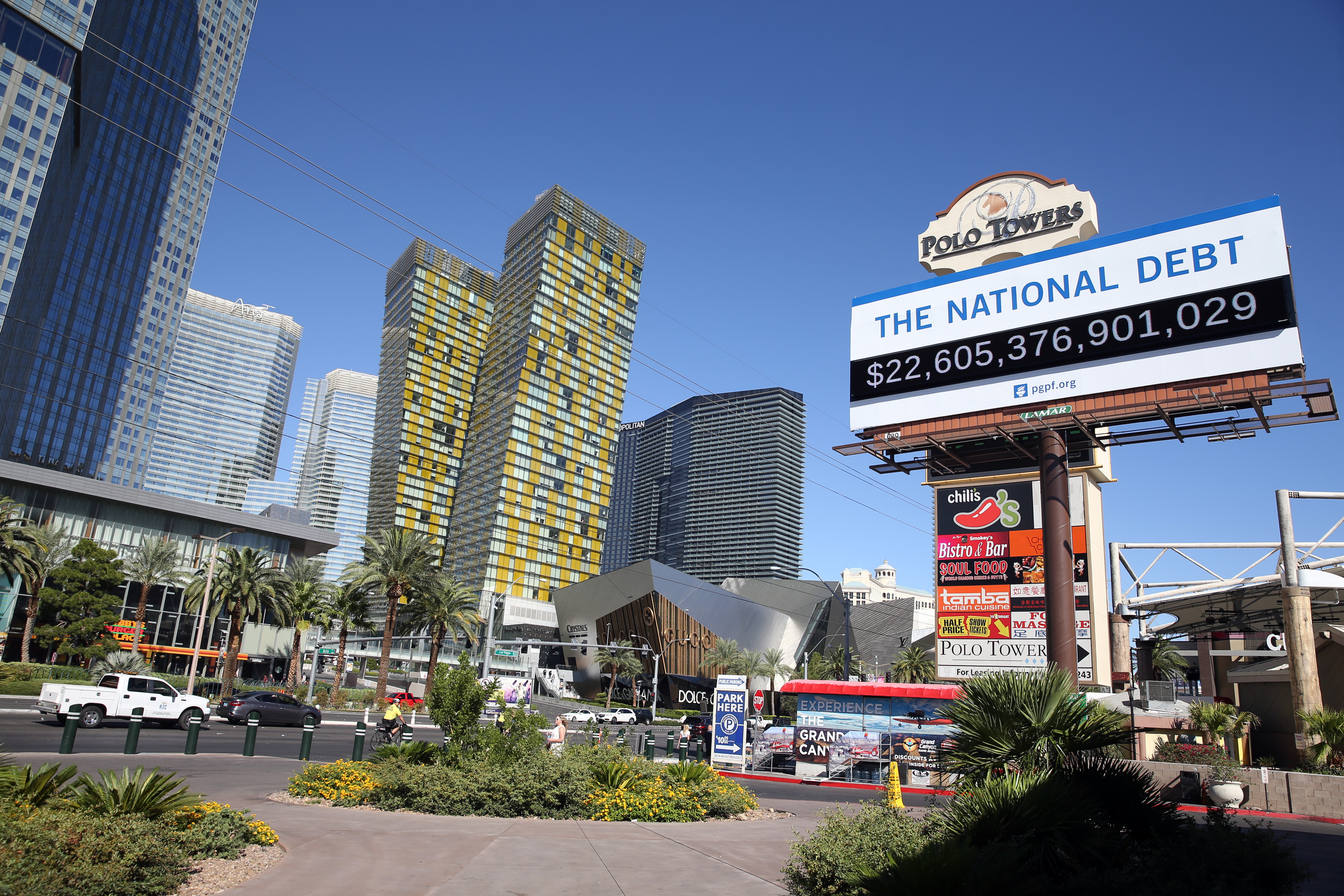 LAS VEGAS, NEVADA - SEPTEMBER 19: Billboard showing the national debt and each Americans share is displayed on September 19, 2019 in downtown Las Vegas, Nevada. (Photo by Isaac Brecken/Getty Images for PGPF)