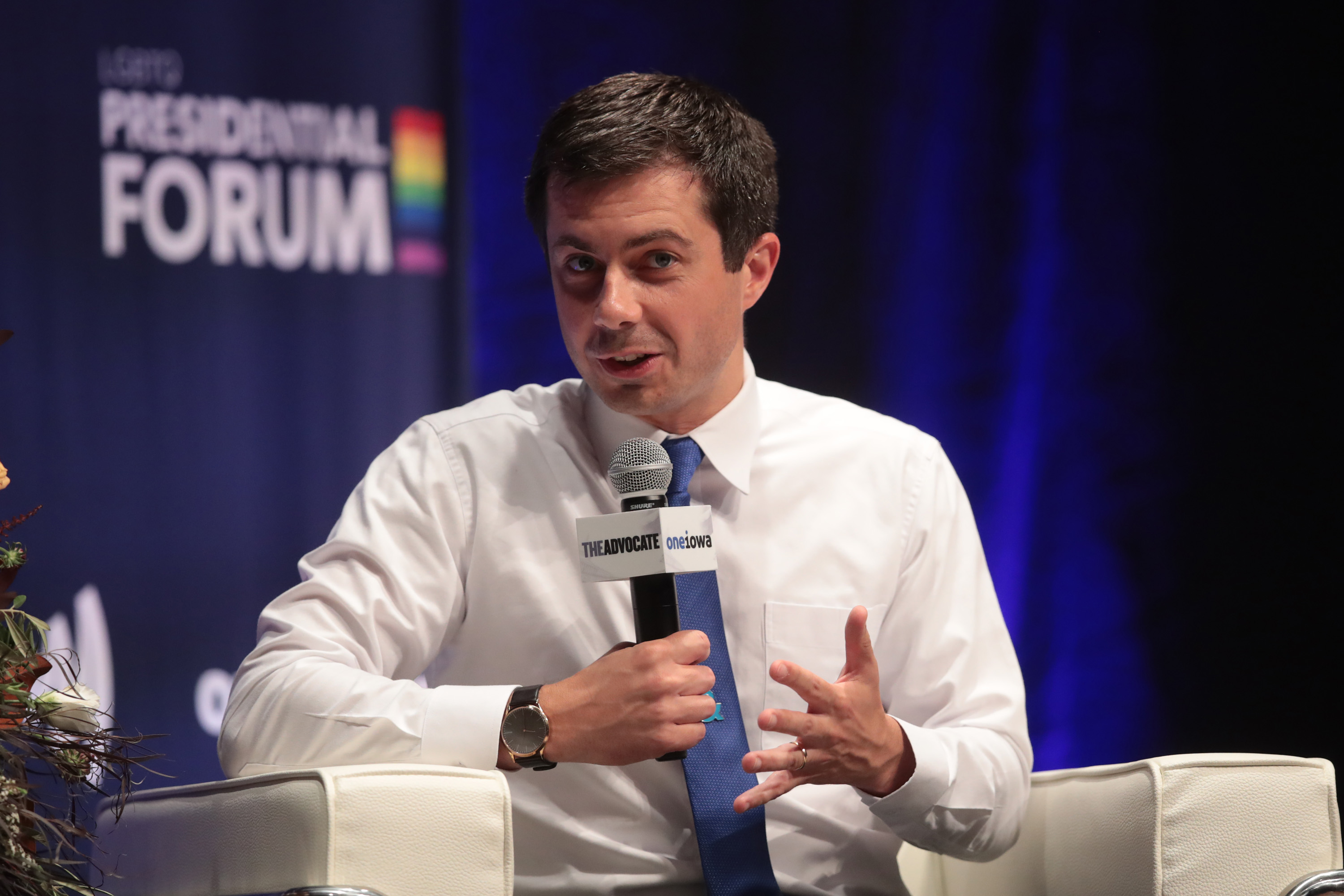 CEDAR RAPIDS, IOWA - SEPTEMBER 20: Democratic presidential candidate and South Bend, Indiana mayor Pete Buttigieg speaks at an LGBTQ presidential forum at Coe College's Sinclair Auditorium on September 20, 2019 in Cedar Rapids, Iowa. The event is the first public event of the 2020 election cycle to focus entirely on LGBTQ issues. (Photo by Scott Olson/Getty Images) (Photo by Scott Olson/Getty Images)