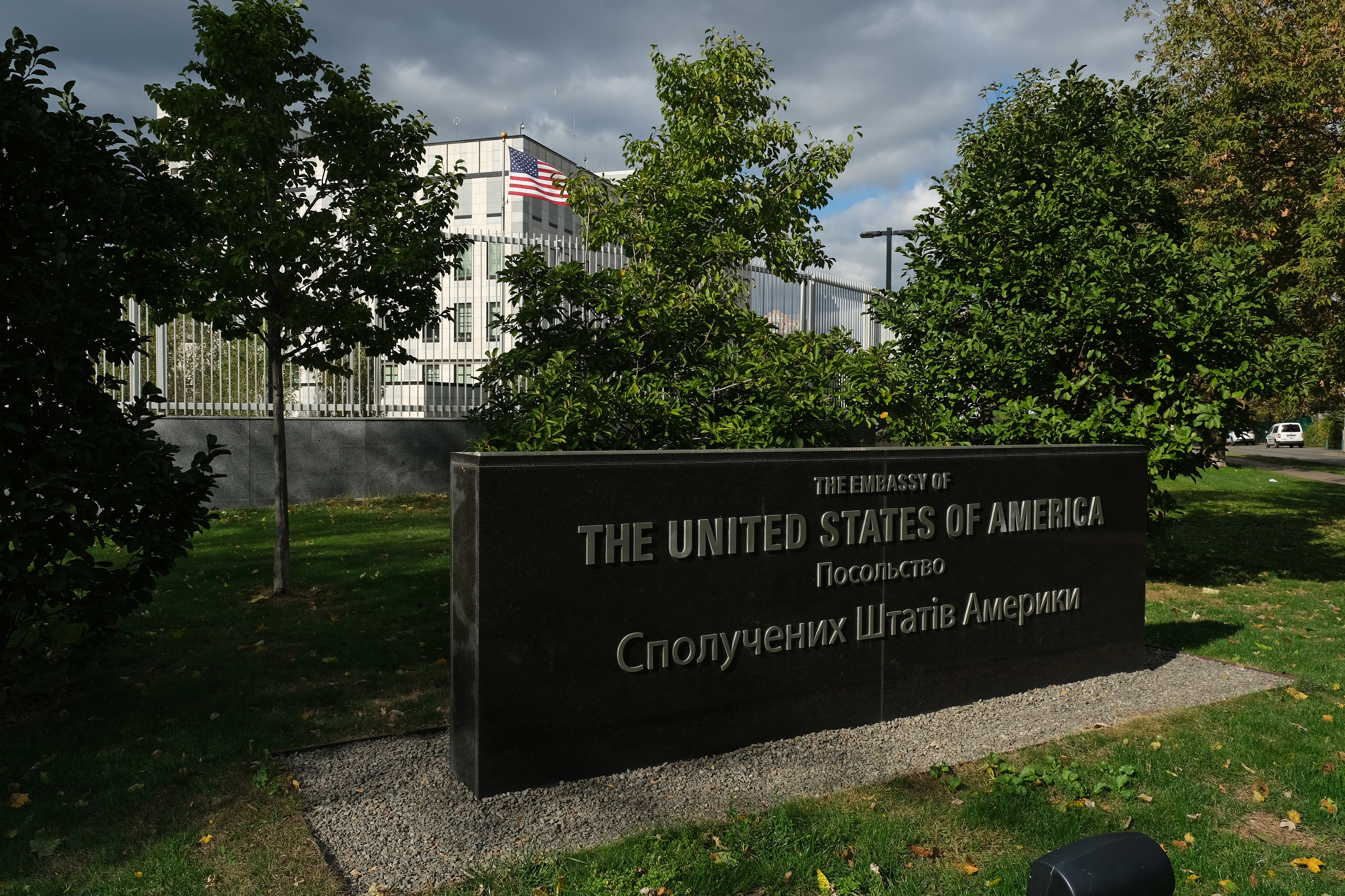 KIEV, UKRAINE - OCTOBER 01: The embassy of the United States of America stands on October 01, 2019 in Kiev, Ukraine. Ukraine has found itself at the core of a political storm in U.S. politics since the release of a whistleblower's complaint suggesting U.S. President Donald Trump, at the expense of U.S. foreign policy, pressured Ukraine to investigate Trump's rival, Joe Biden, and Biden's son, Hunter. The complaint suggests too that the Trump administration recalled U.S. ambassador to Ukraine at the time, Masha Yovanovitch, because she was hindering efforts to collect information on Biden. Trump and his allies have charged that Biden, during Biden's term as Vice President, forced Ukraine to fire then General Prosecutor Viktor Shokin in order to shield Hunter, who was on the board of a Ukrainian company. Anti-corruption workers in Ukraine counter that the Obama administration, as well as other western governments, demanded Ukraine fire Shokin because Shokin was in fact impeding anti-corruption efforts. (Photo by Sean Gallup/Getty Images)