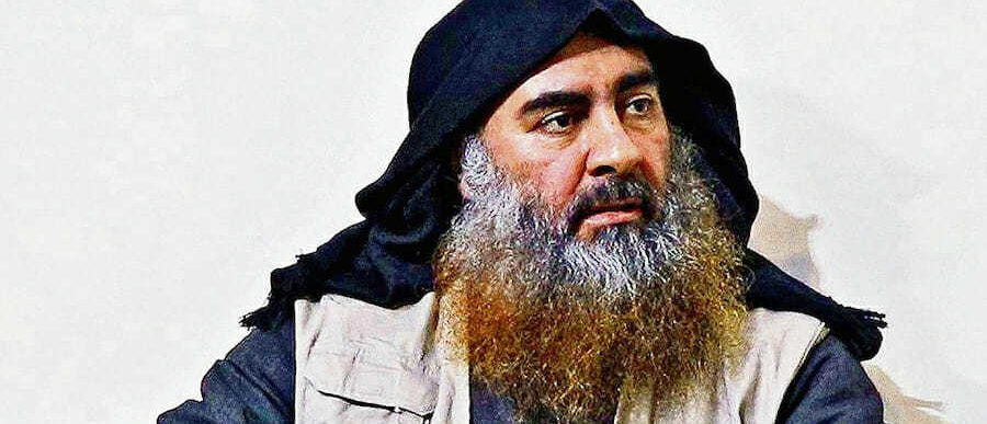 In this undated handout image provided by the Department of Defense, ISIS leader Abu Bakr al-Baghdadi is seen in an unspecified location. (Photo by Department of Defense via Getty Images)