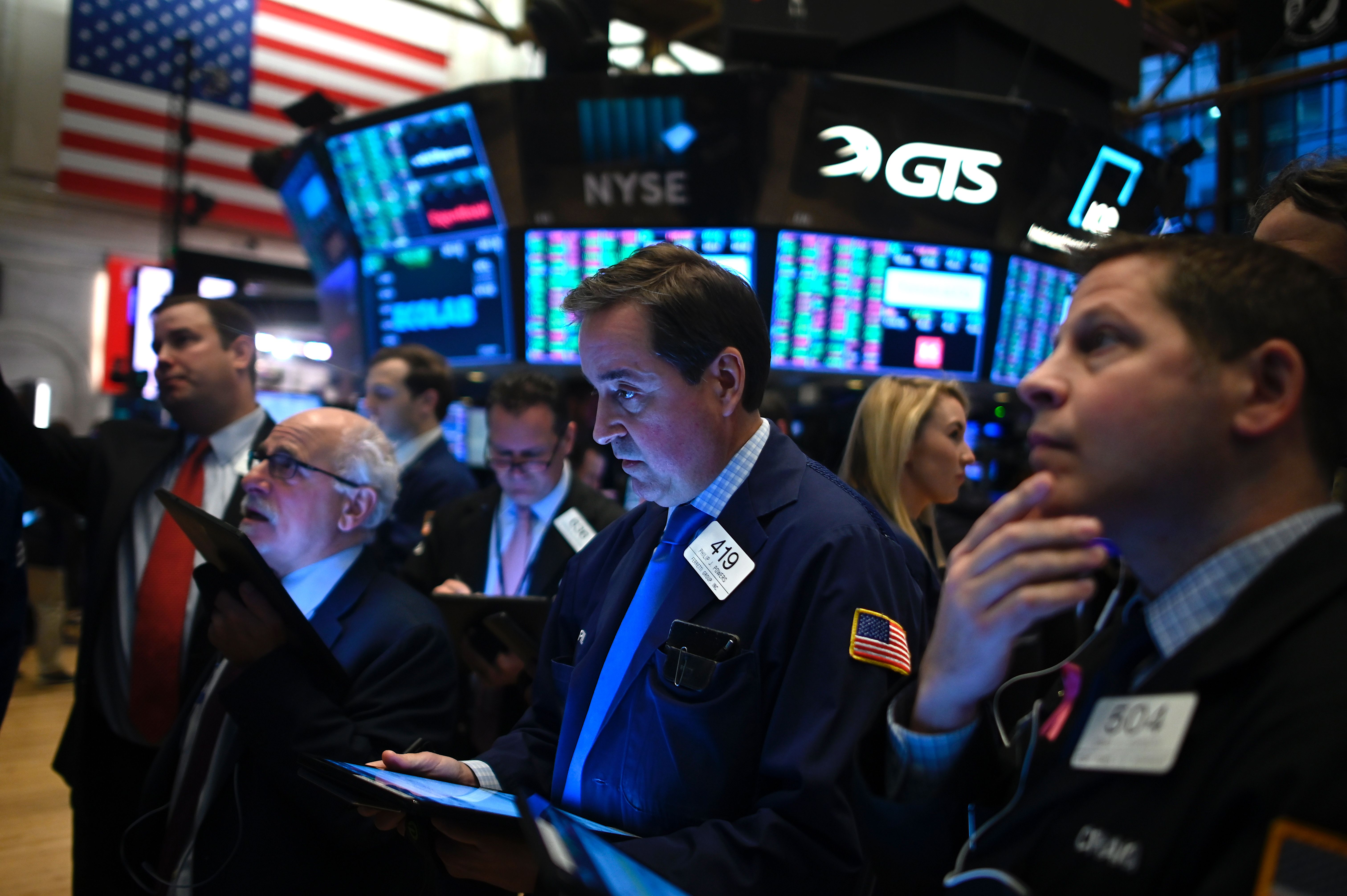 Traders work during the opening bell at the New York Stock Exchange (NYSE) on November 4, 2019 at Wall Street in New York City. (JOHANNES EISELE/AFP via Getty Images)