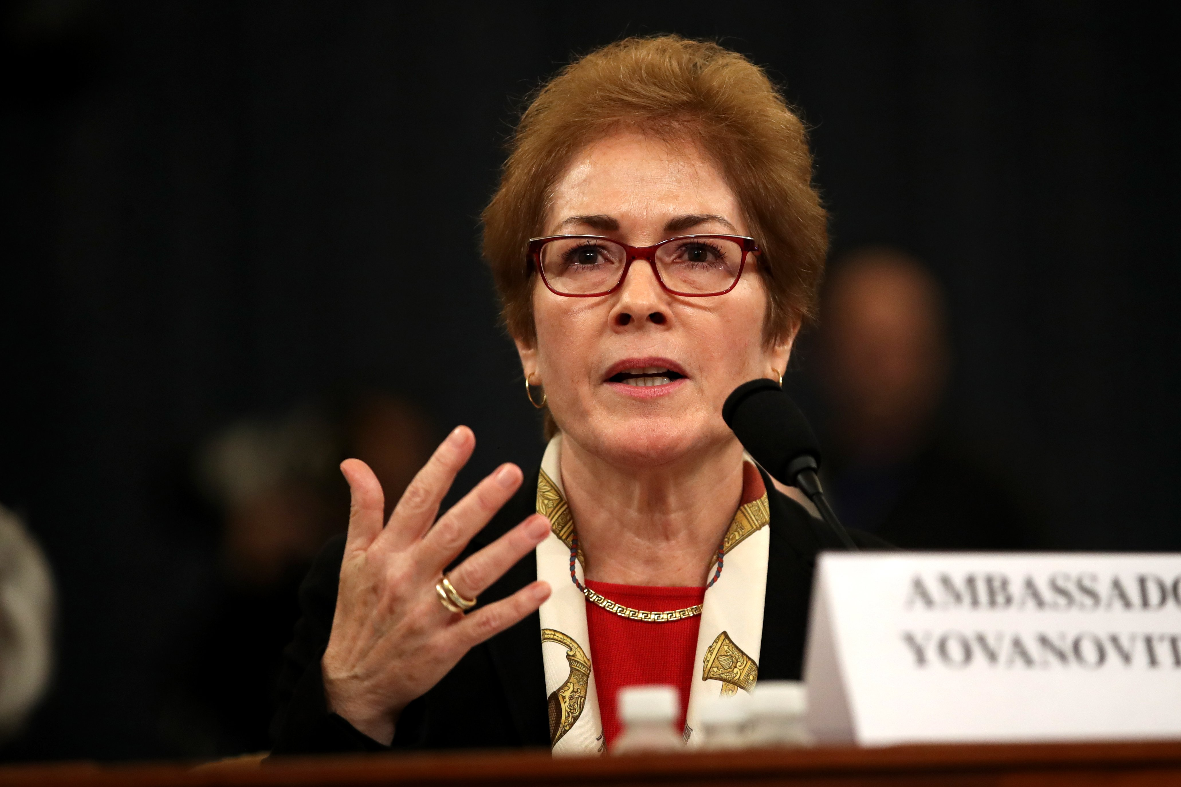 Former U.S. Ambassador to Ukraine Marie Yovanovitch testifies before the House Intelligence Committee in the Longworth House Office Building Nov. 15, 2019. (Drew Angerer/Getty Images)