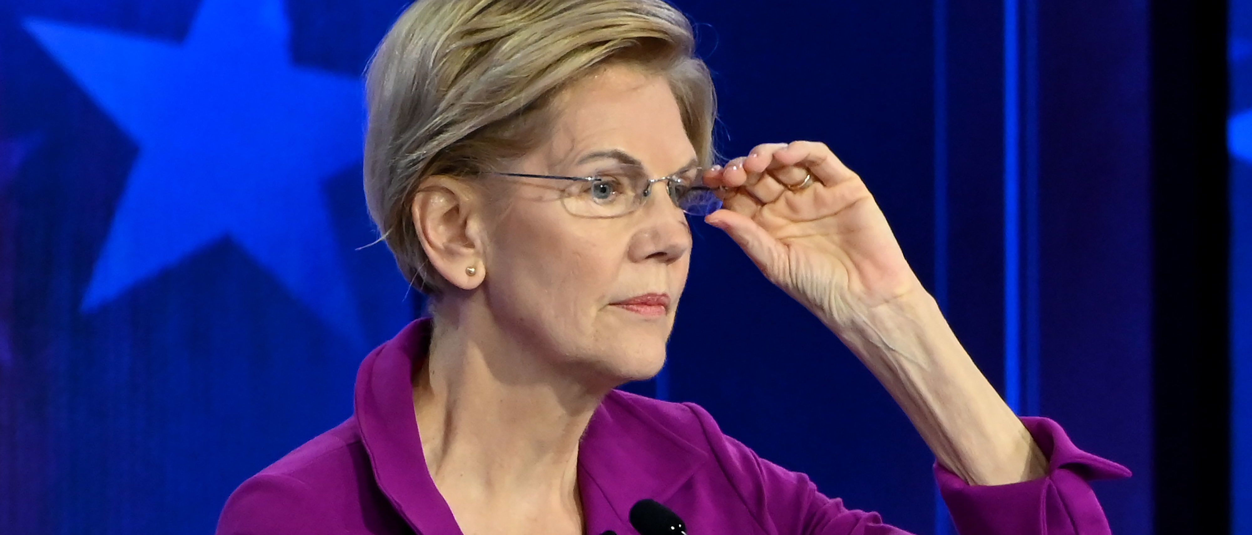 Democratic presidential hopeful Massachusetts Senator Elizabeth Warren participates in the fifth Democratic primary debate of the 2020 presidential campaign season co-hosted by MSNBC and The Washington Post at Tyler Perry Studios in Atlanta, Georgia on November 20, 2019. (Photo by SAUL LOEB / AFP) (Photo by SAUL LOEB/AFP via Getty Images)