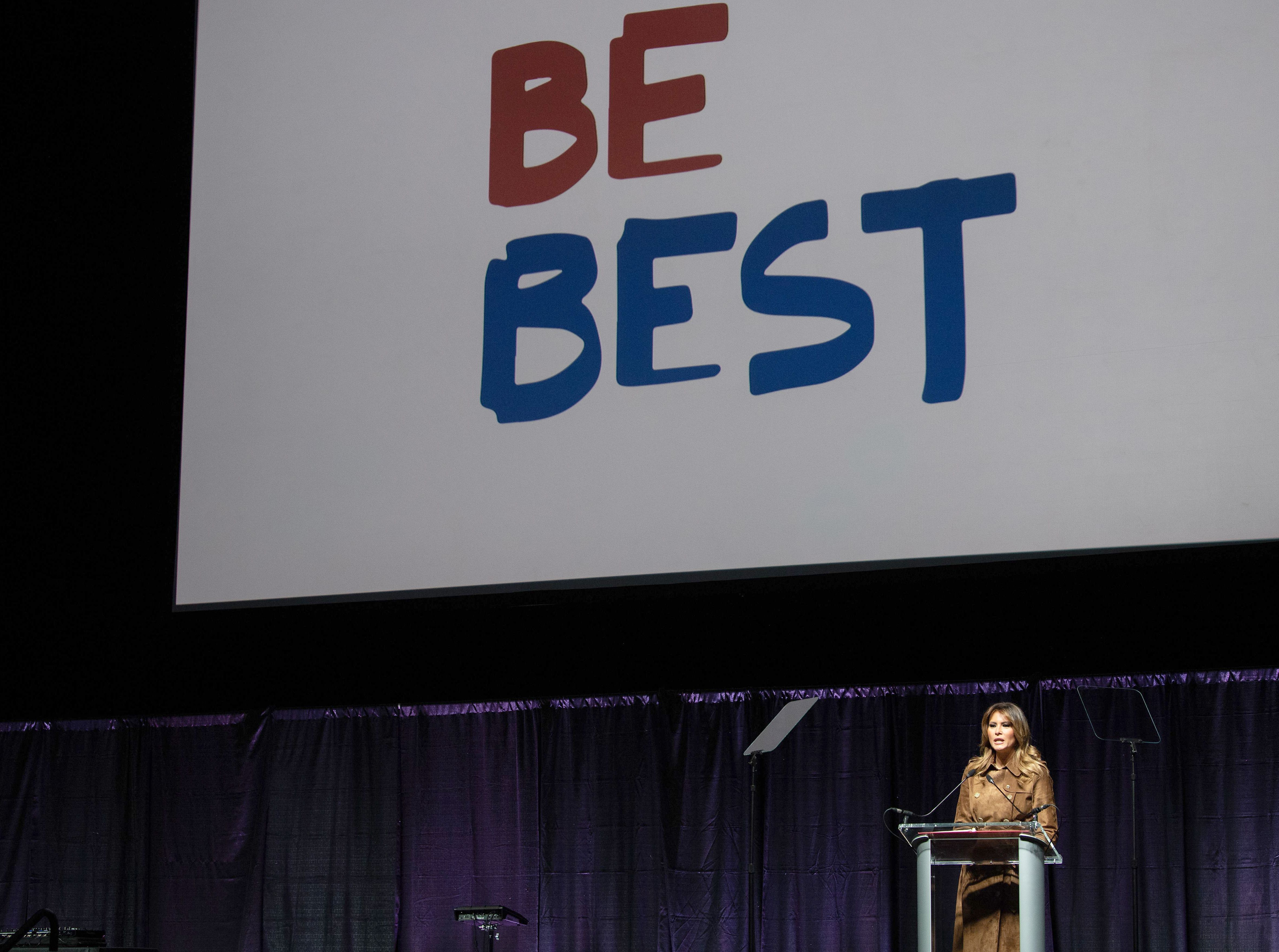 US First Lady Melania Trump addresses the B'More Youth Summit in Baltimore, Maryland, on November 26, 2019. (NICHOLAS KAMM/AFP via Getty Images)