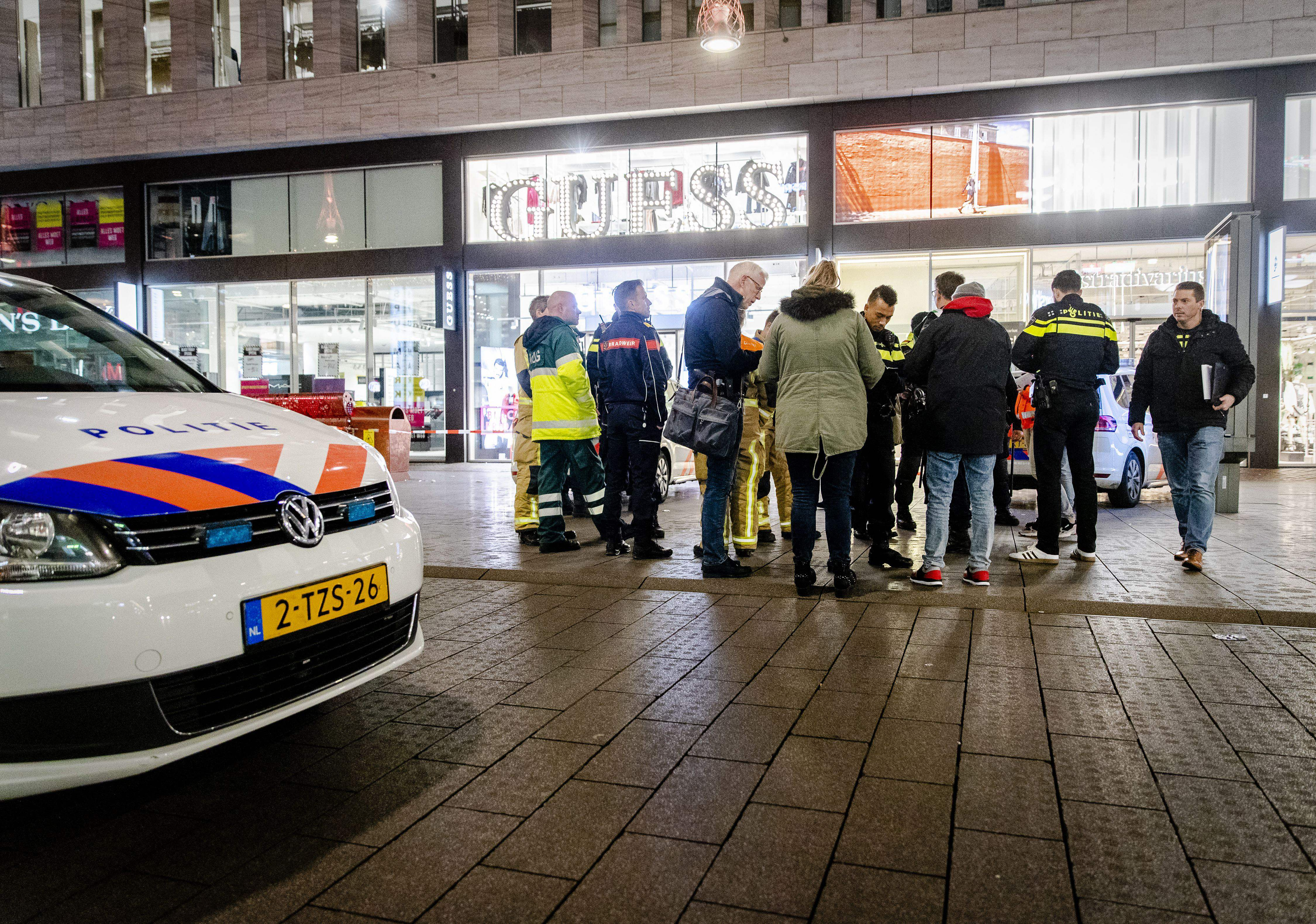 Police arrive at the Grote Marktstraat, one of the main shopping streets in the centre of the Dutch city of The Hague, after several people were wounded in a stabbing incident on November 29, 2019. (SEM VAN DER WAL/ANP/AFP via Getty Images)
