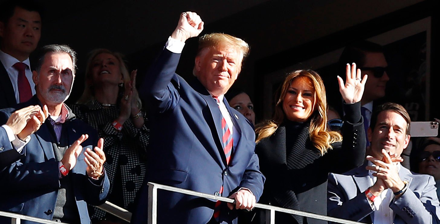 TUSCALOOSA, ALABAMA - NOVEMBER 09: President Donald Trump and first lady Melania Trump attend the game between the LSU Tigers and the Alabama Crimson Tide at Bryant-Denny Stadium on November 09, 2019 in Tuscaloosa, Alabama. (Photo by Kevin C. Cox/Getty Images)