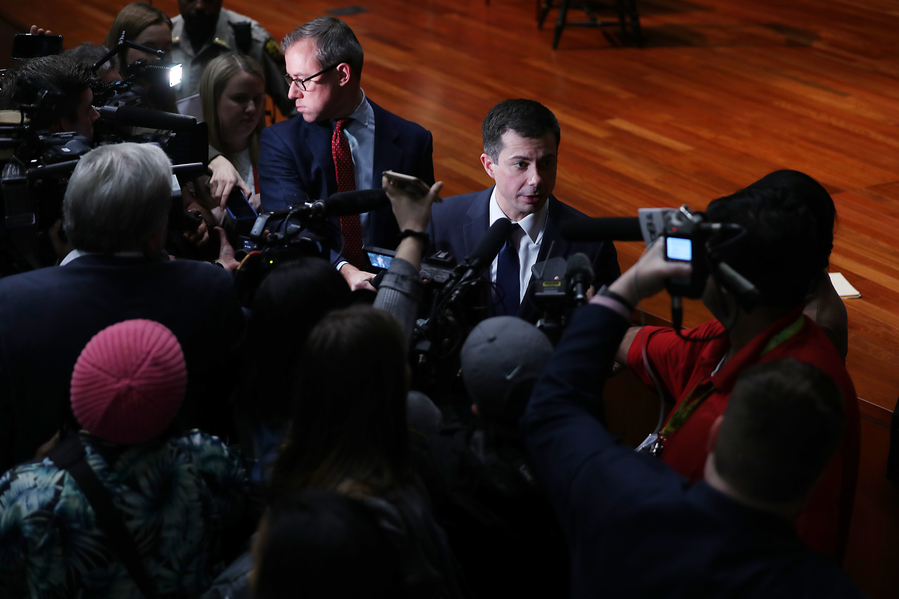 ATLANTA, GEORGIA - NOVEMBER 18: Democratic presidential candidate, South Bend, Indiana Mayor Pete Buttigieg speaks to the media after participating in a conversation with Dr. Adrienne Jones at Morehouse College Ray Charles Performing Arts Center on November 18, 2019 in Atlanta, Georgia. Buttigieg continues to campaign as polls show him gaining momentum against his Democratic rivals. (Photo by Joe Raedle/Getty Images)