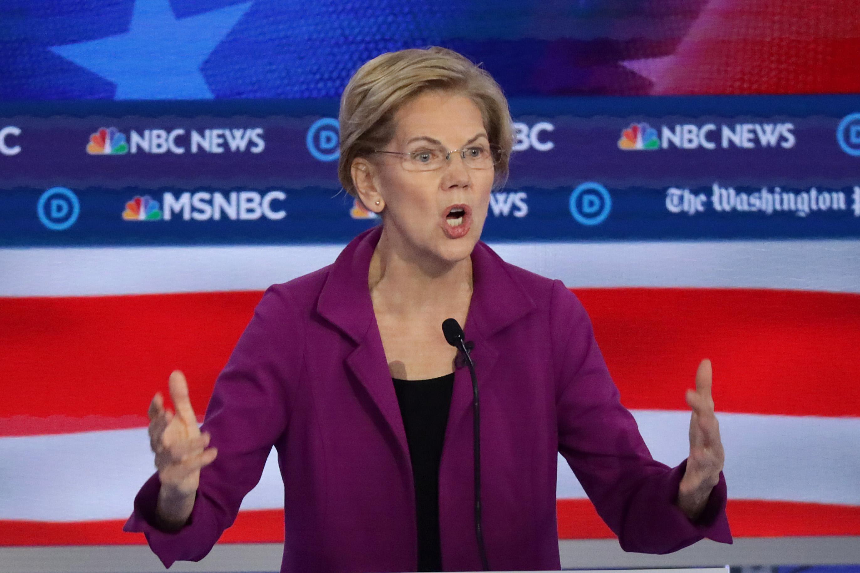 Sen. Elizabeth Warren (D-MA) speaks during the Democratic Presidential Debate at Tyler Perry Studios November 20, 2019 in Atlanta, Georgia. (Alex Wong/Getty Images)