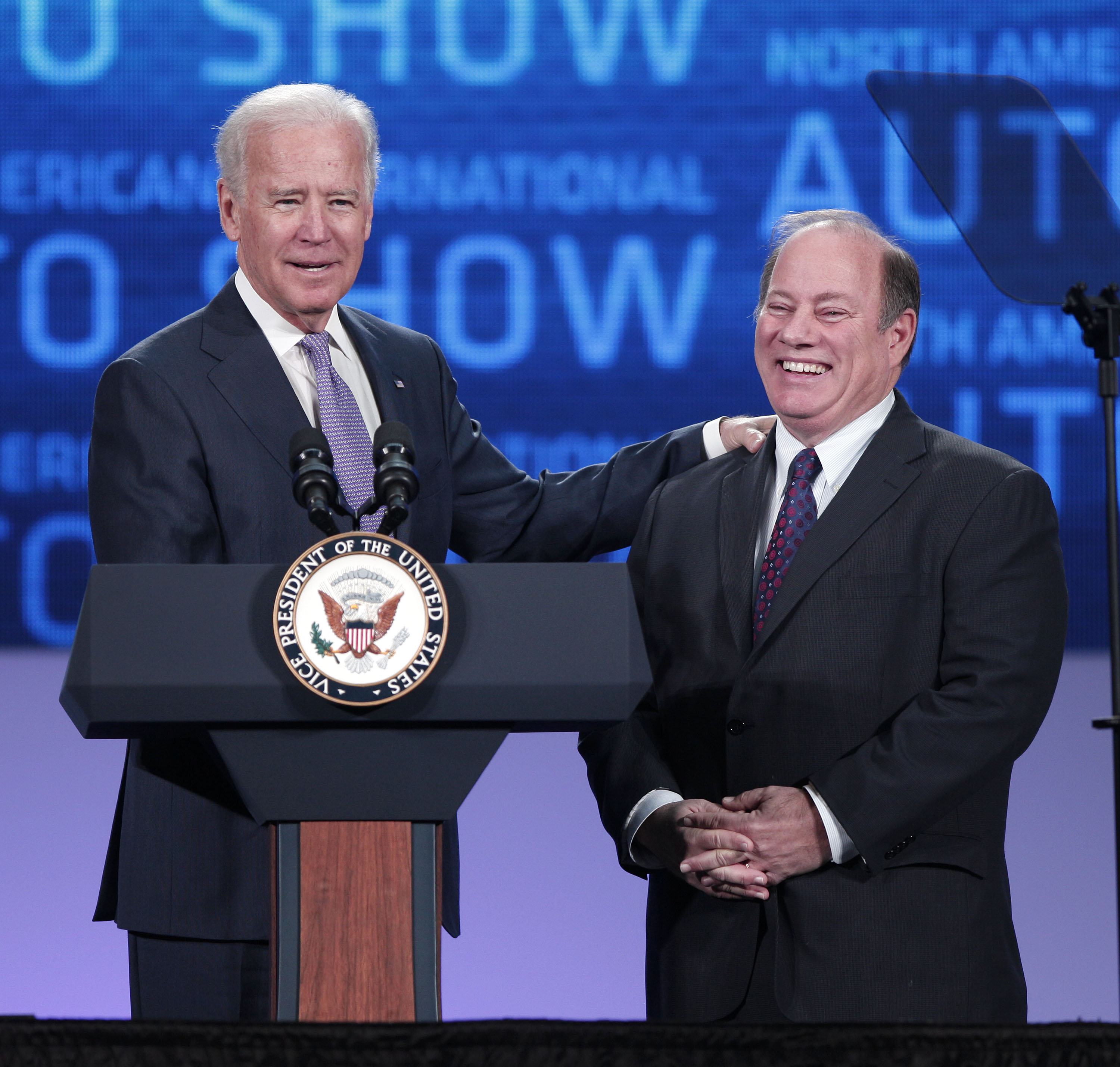DETROIT, MI - JANUARY 16: U.S. Vice President Joe Biden (left) and Detroit Mayor Mike Duggan stand on stage before the Vice President gives a speech about the future of the American auto industry at the 2014 North American International Auto Show January 16, 2014 in Detroit, Michigan. The 2014 NAIAS is being held at Detroit's Cobo Arena, opens to the public on January 18th, and ends January 26th. (Photo by Bill Pugliano/Getty Images)