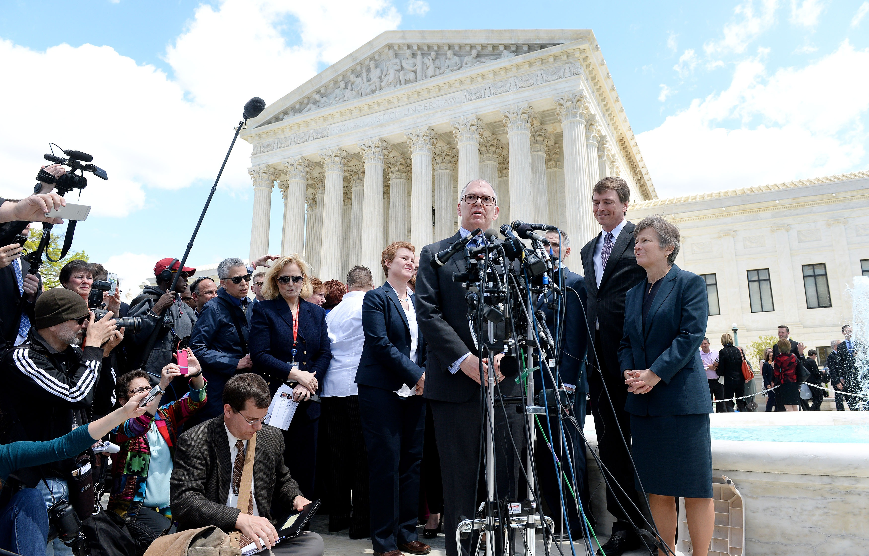 WASHINGTON, DC - APRIL 28: Plaintiff James Obergefell in the Obergefell v. Hodges case speaks outside the US Supreme Court on April 28, 2015 in Washington, DC. The Supreme Court meets to hear arguments whether same-sex couples have a constitutional right to wed in the United States, with a final decision expected in June. (Photo by Olivier Douliery/Getty Images)