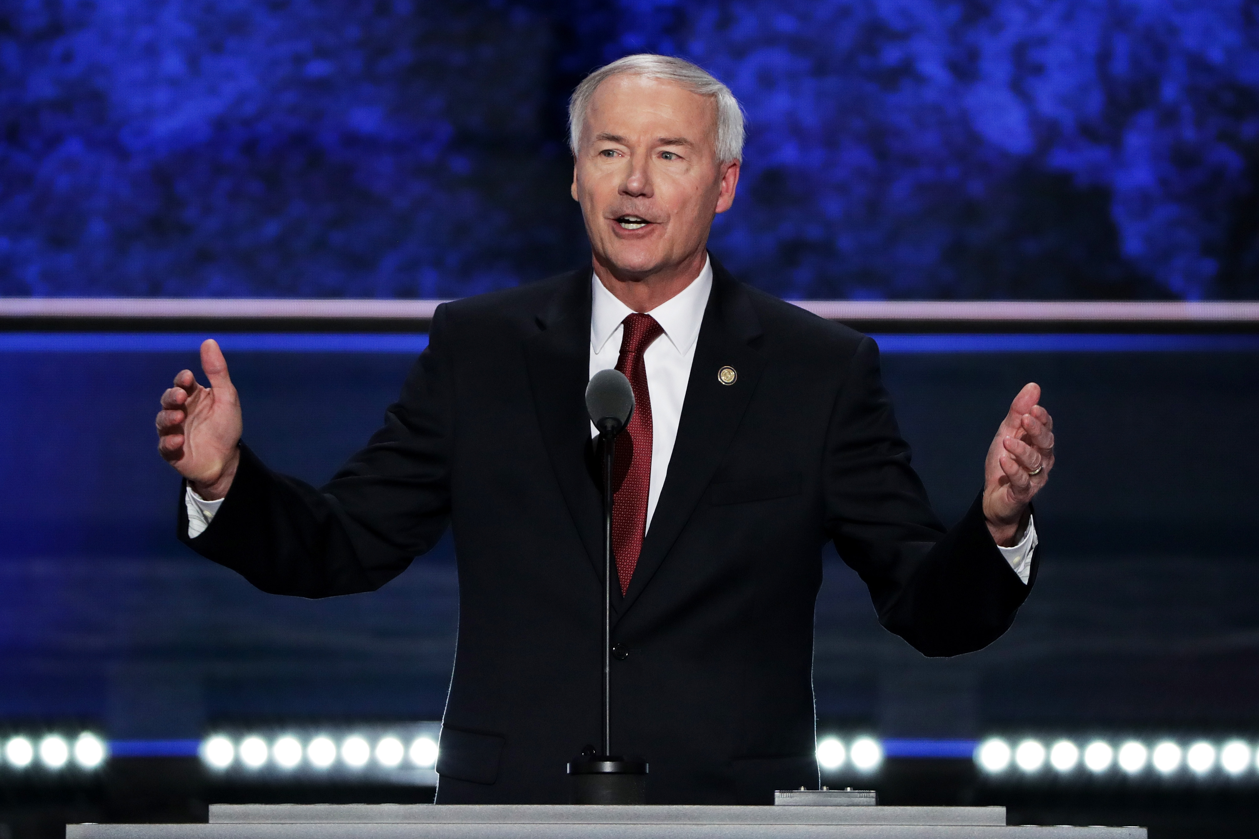 Arkansas Gov. Asa Hutchinson delivers a speech on the second day of the Republican National Convention on July 19, 2016. (Alex Wong/Getty Images)