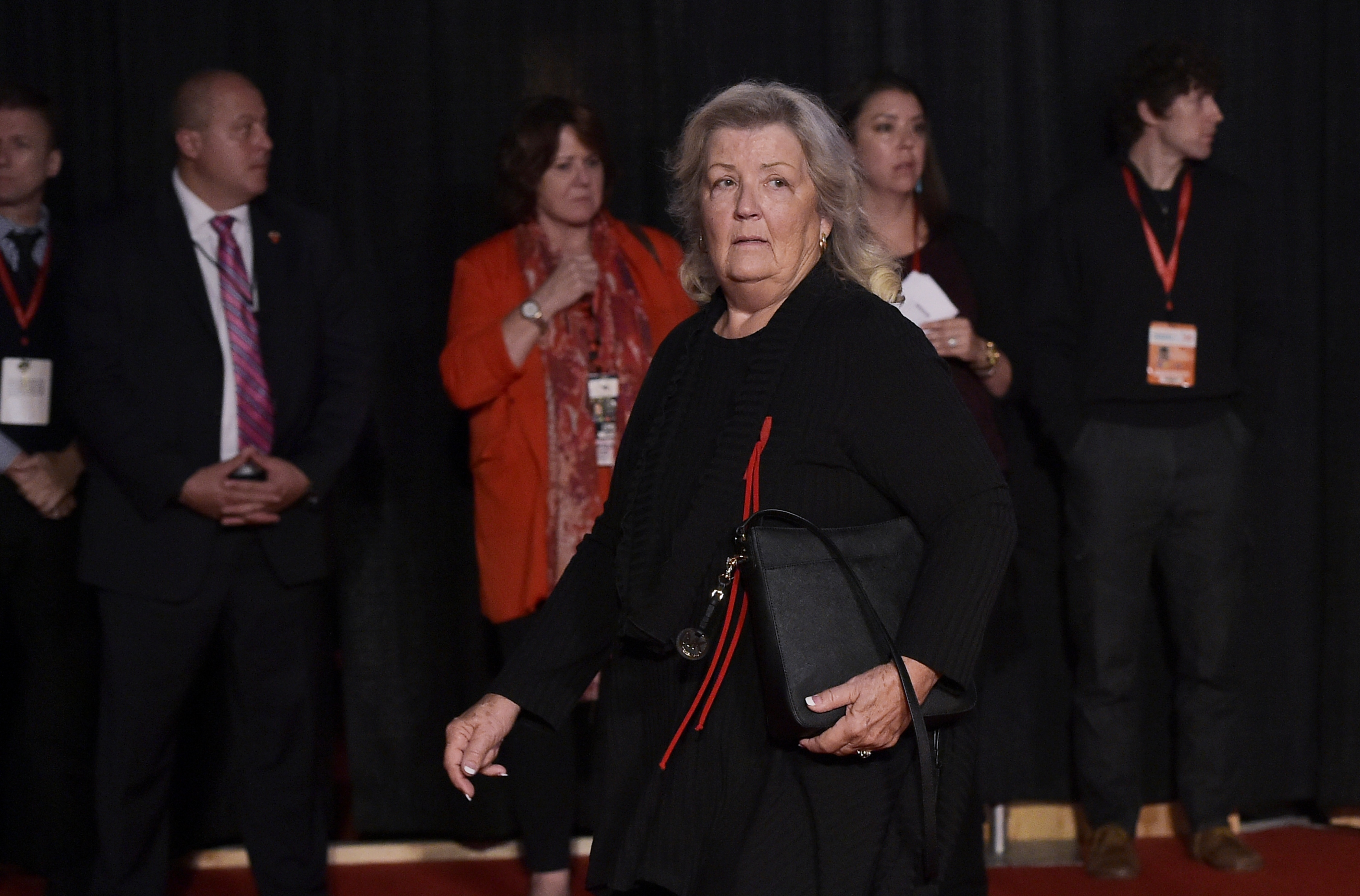 Juanita Broaddrick arrives for the second presidential debate between Republican presidential nominee Donald Trump and Democratic contender Hillary Clinton at Washington University in St. Louis, Missouri on October 9, 2016. (MANDEL NGAN/AFP via Getty Images)