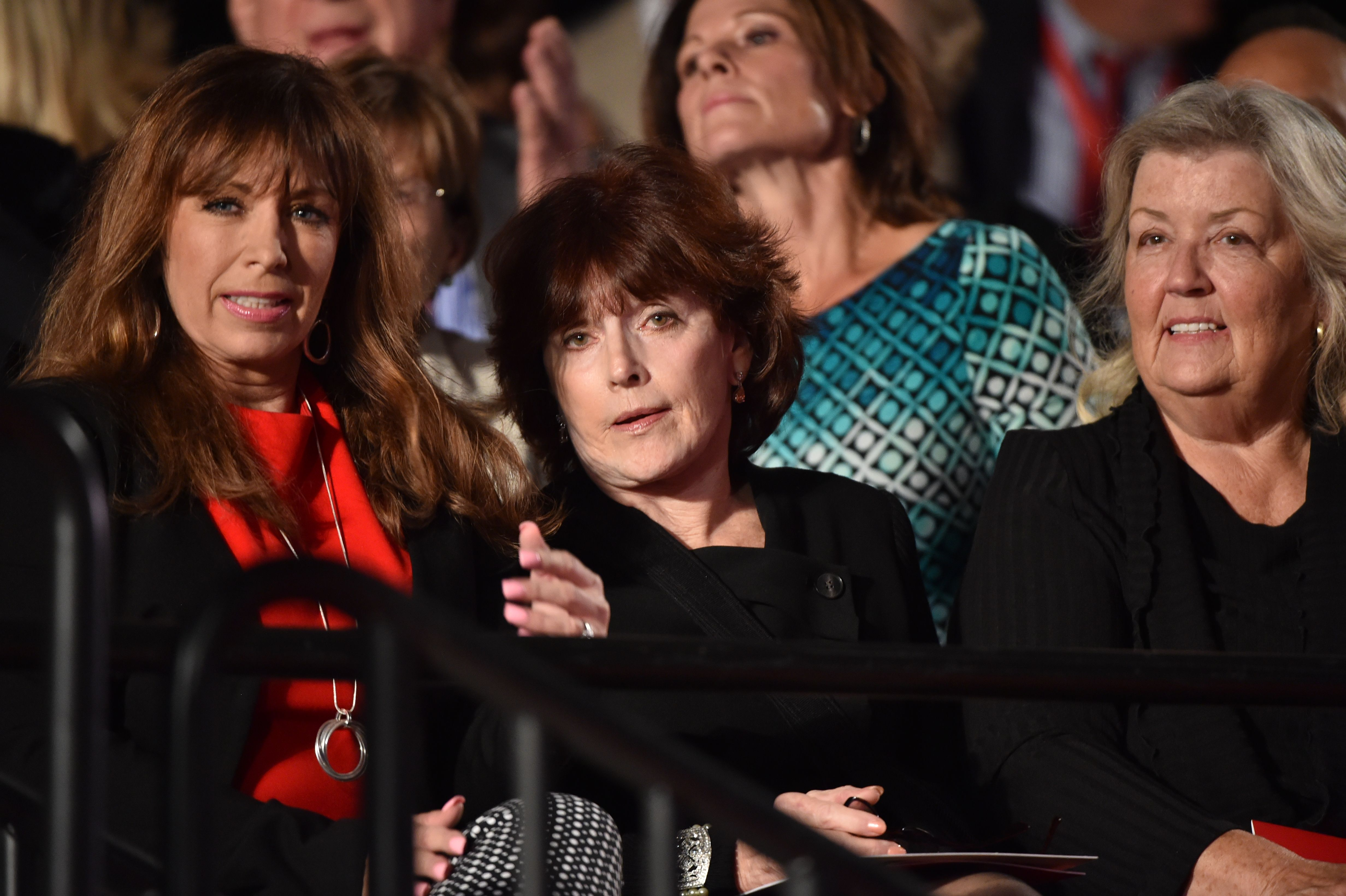 Paula Jones (L), Kathleen Willey (C) and Juanita Broaddrick (R) are seated for the second presidential debate between Republican presidential nominee Donald Trump and Democratic contender Hillary Clinton at Washington University in St. Louis, Missouri on October 9, 2016. (PAUL J. RICHARDS/AFP via Getty Images)
